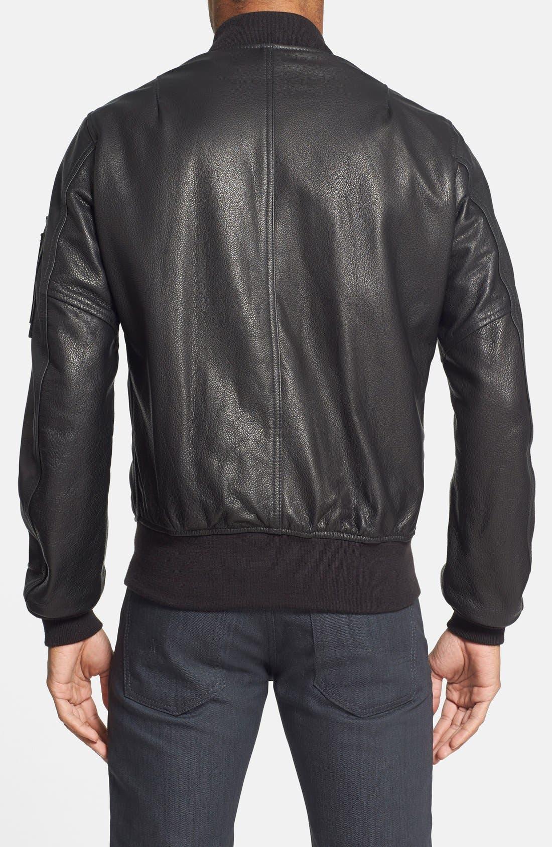 'MA-1' Slim Fit Leather Jacket,                             Alternate thumbnail 2, color,                             001