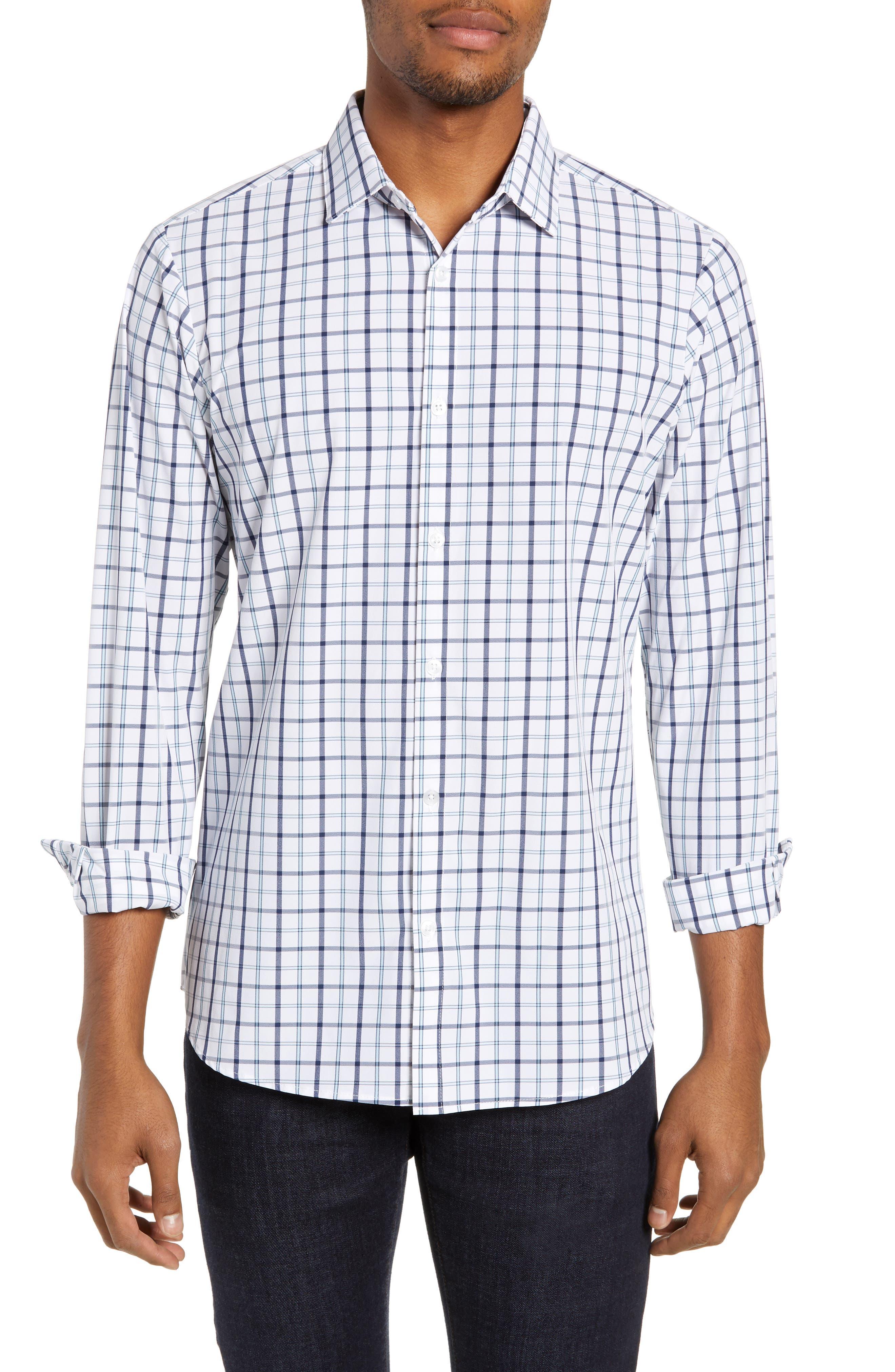 Bowers Regular Fit Check Performance Sport Shirt, Main, color, NAVY