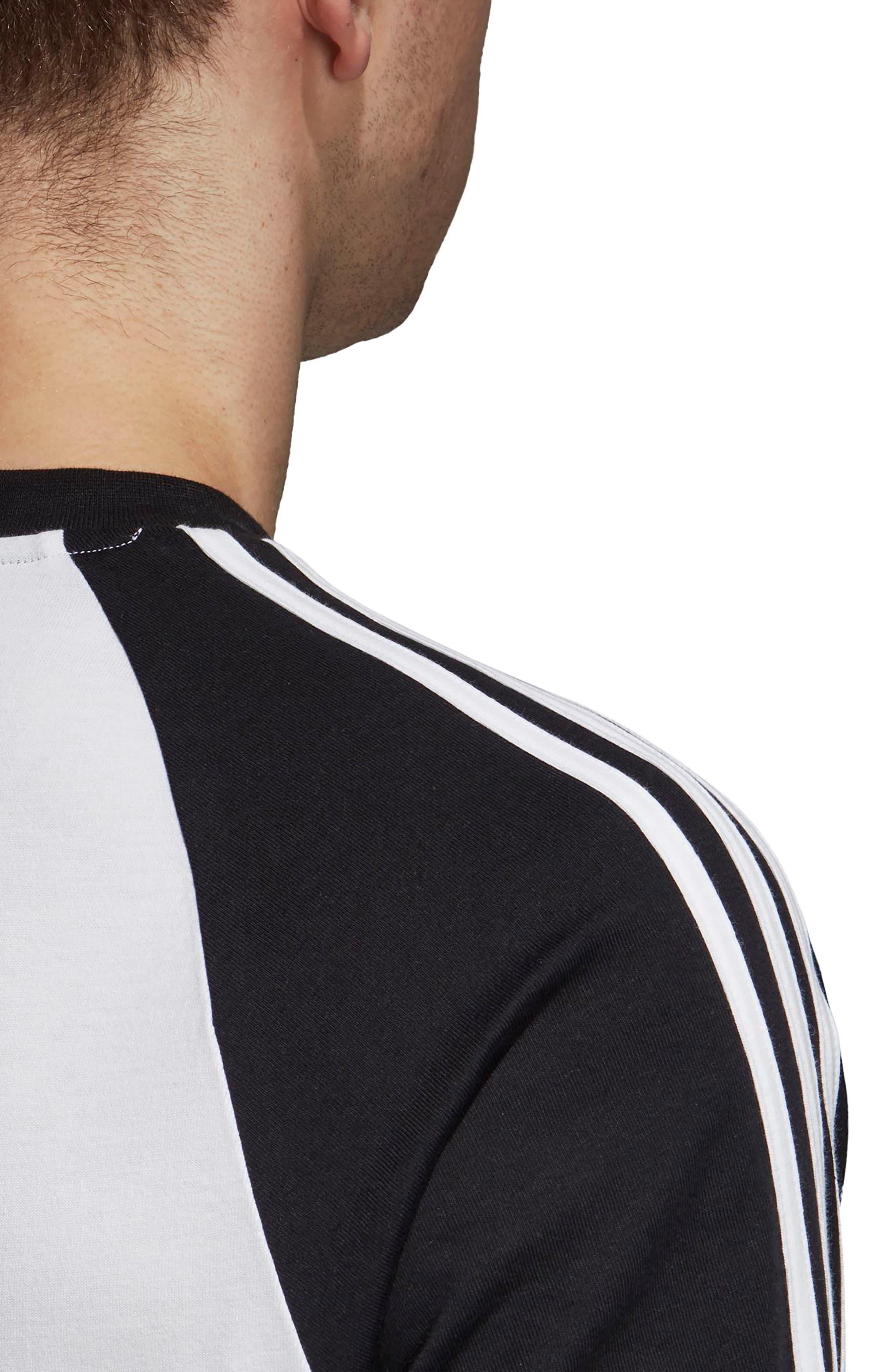 3-Stripes Long Sleeve T-Shirt,                             Alternate thumbnail 4, color,                             WHITE/ BLACK