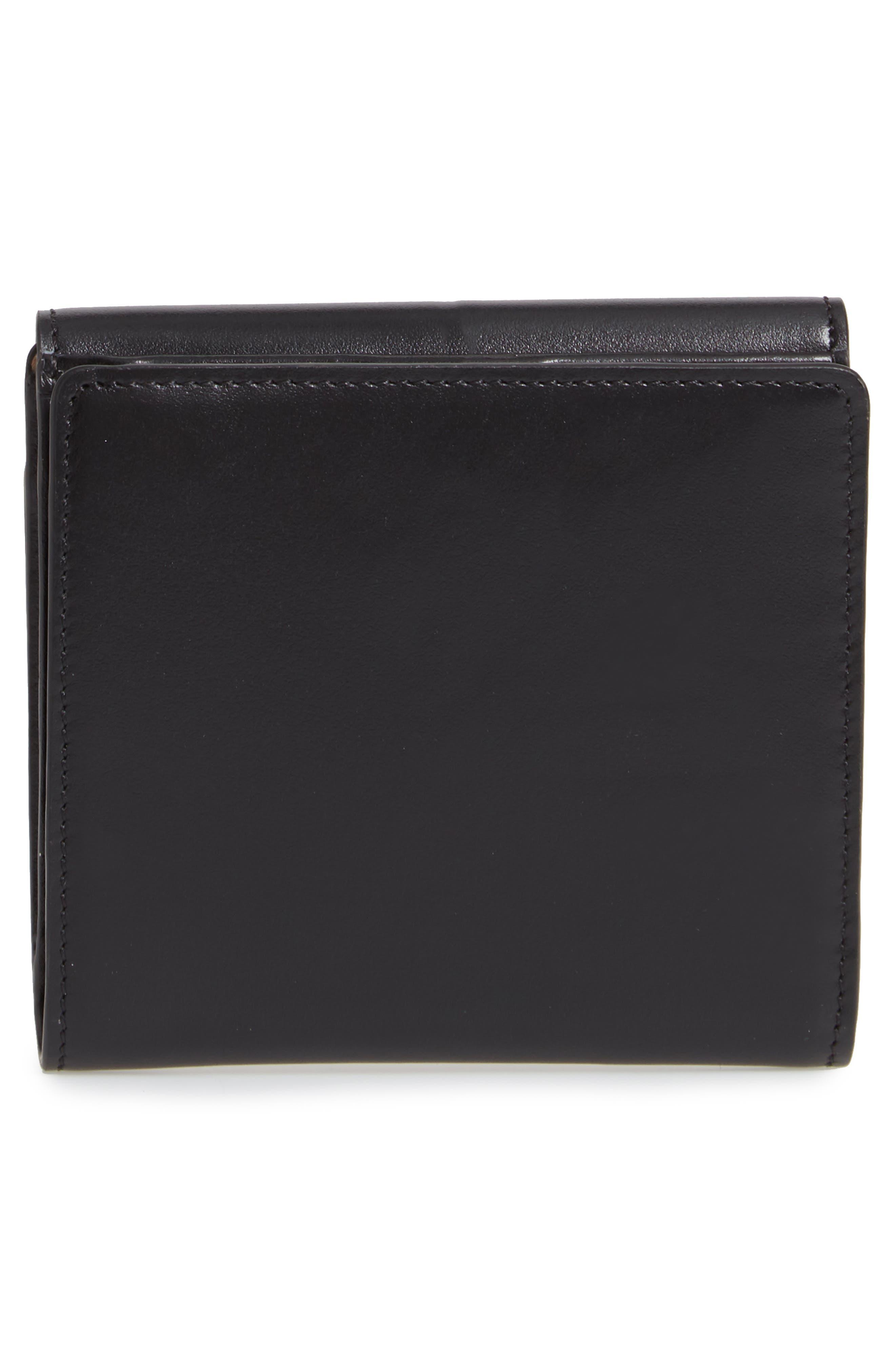 CHLOÉ,                             Square Leather Wallet,                             Alternate thumbnail 4, color,                             BLACK