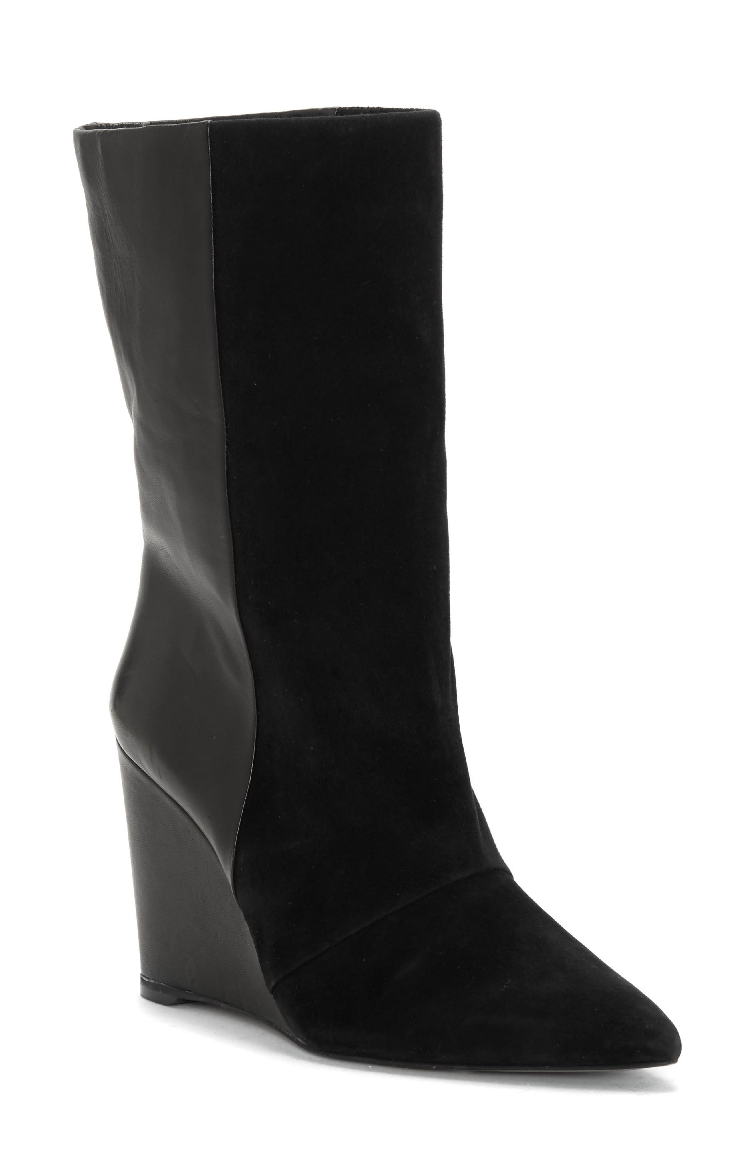 Zalena Wedge Boot,                             Main thumbnail 1, color,                             BLACK SUEDE