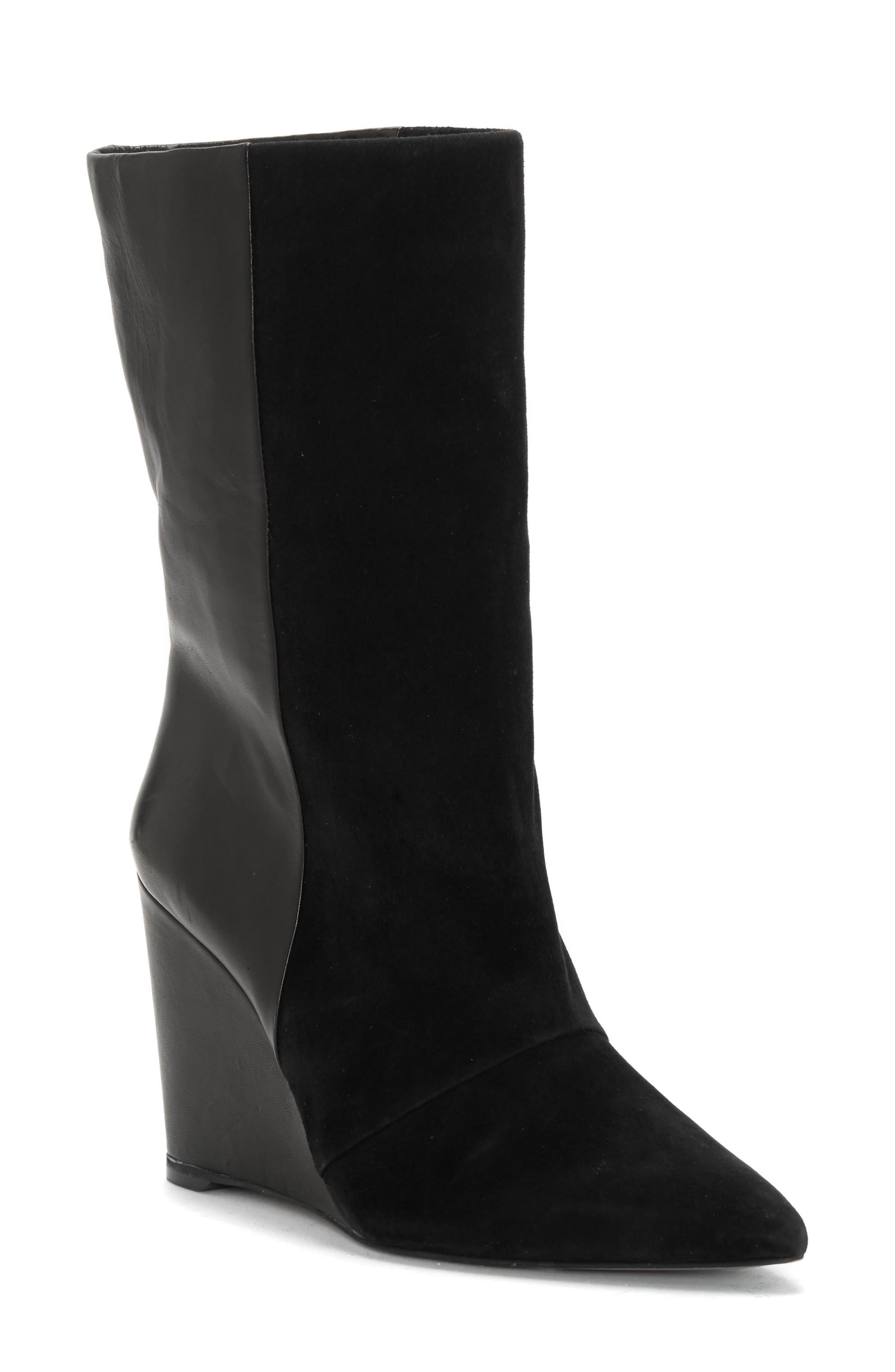 Zalena Wedge Boot, Main, color, BLACK SUEDE