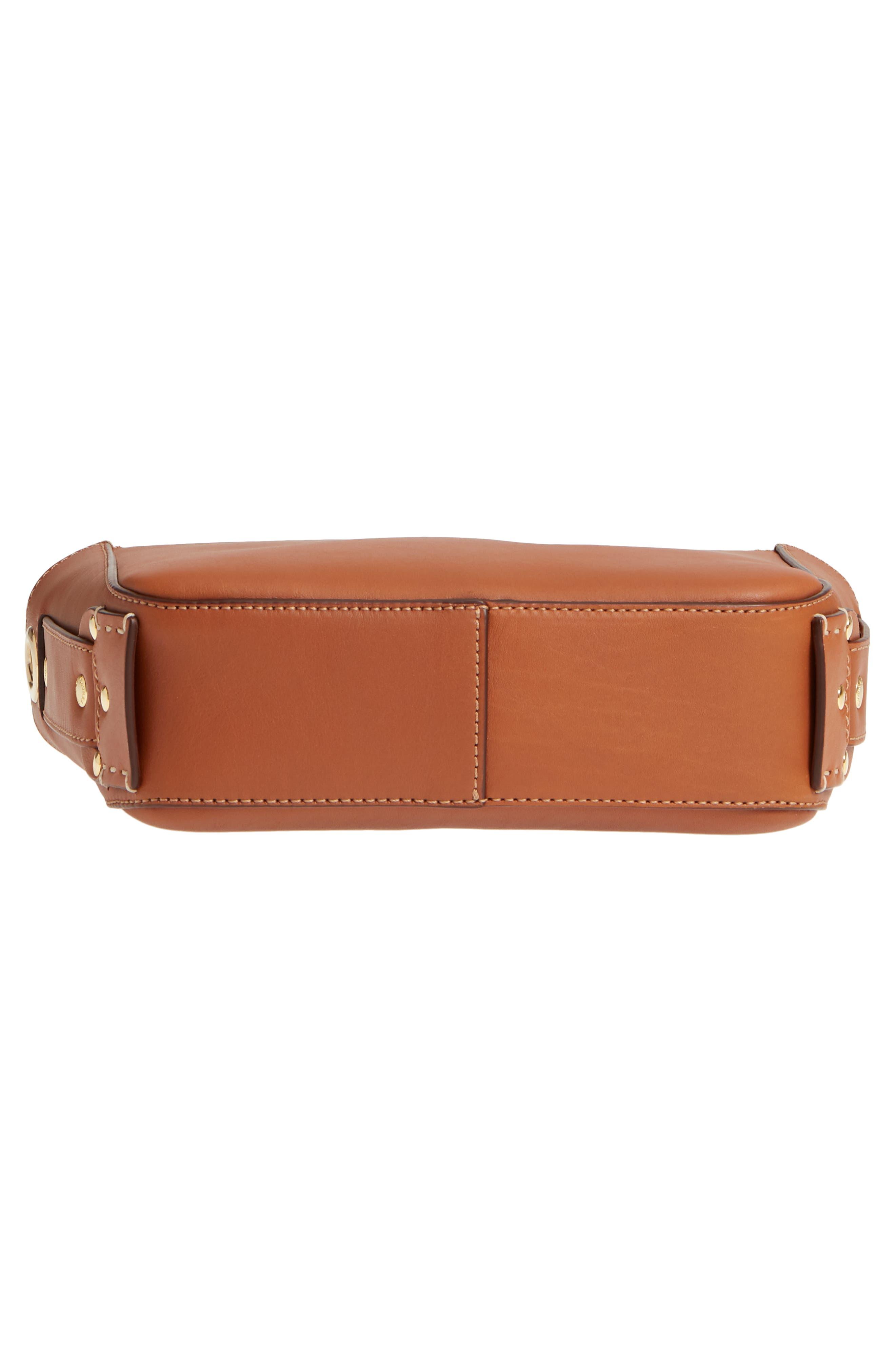 Tilley Leather Crossbody Bag,                             Alternate thumbnail 6, color,                             CHESTNUT