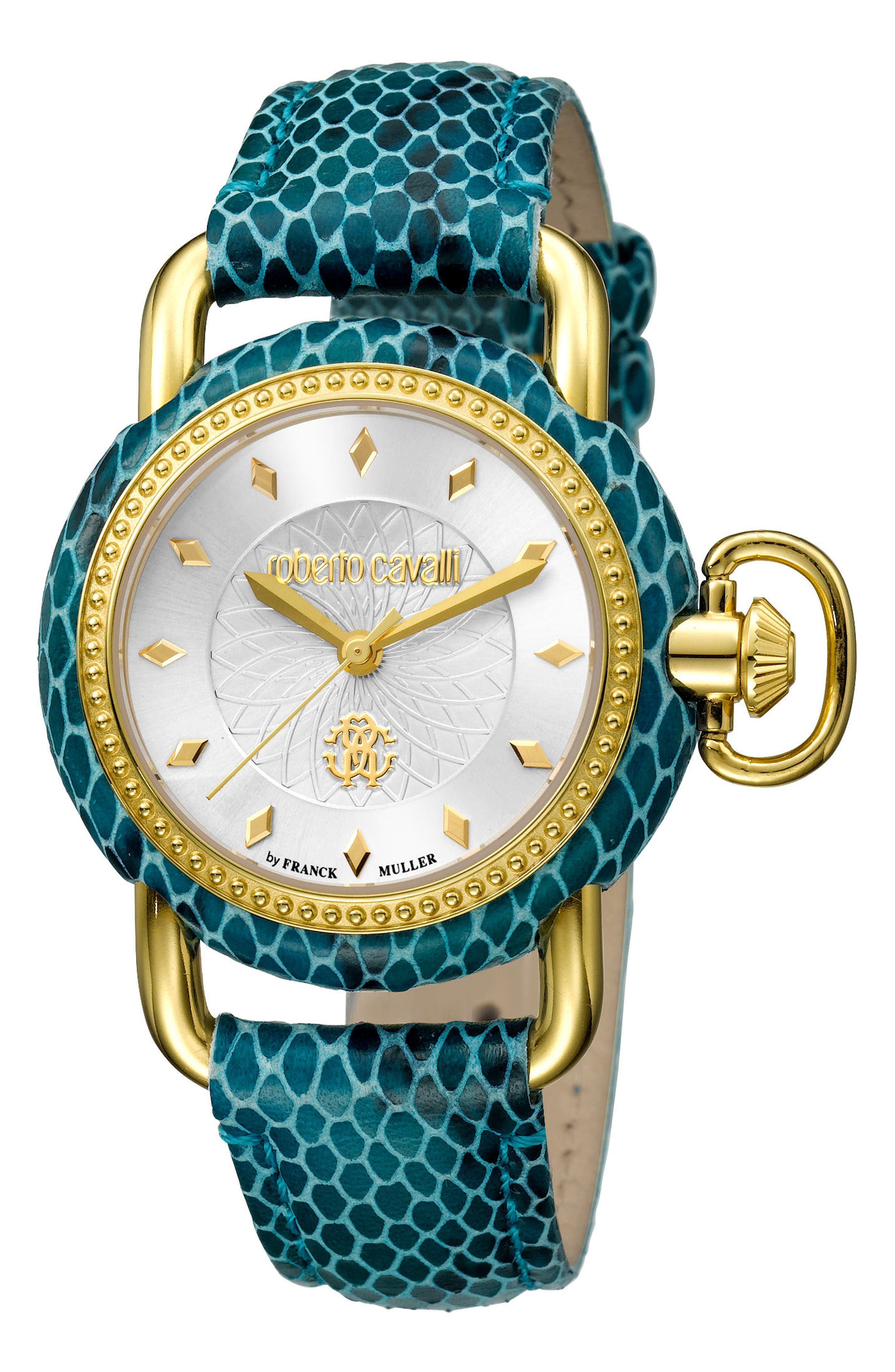 Snake Leather Strap Watch, 36mm,                             Main thumbnail 1, color,                             TEAL/ SILVER GUILLOCHE/ GOLD