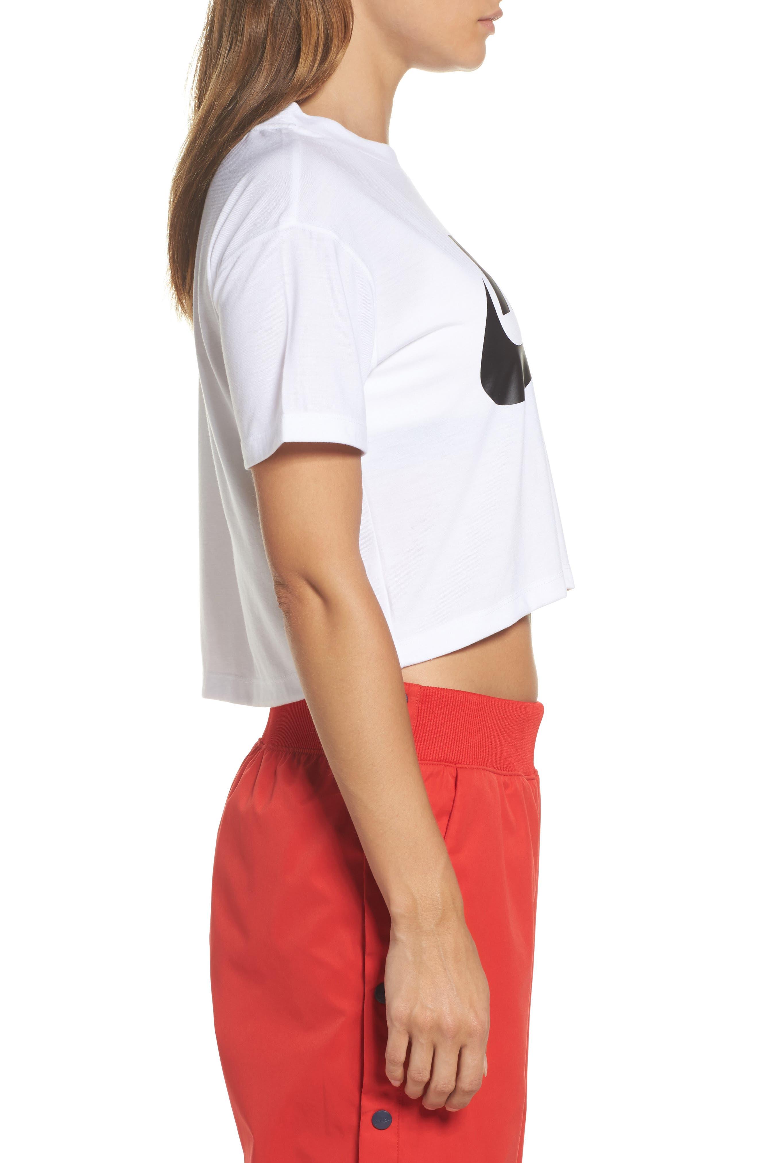 Sportswear Crop Top,                             Alternate thumbnail 3, color,                             WHITE/ BLACK
