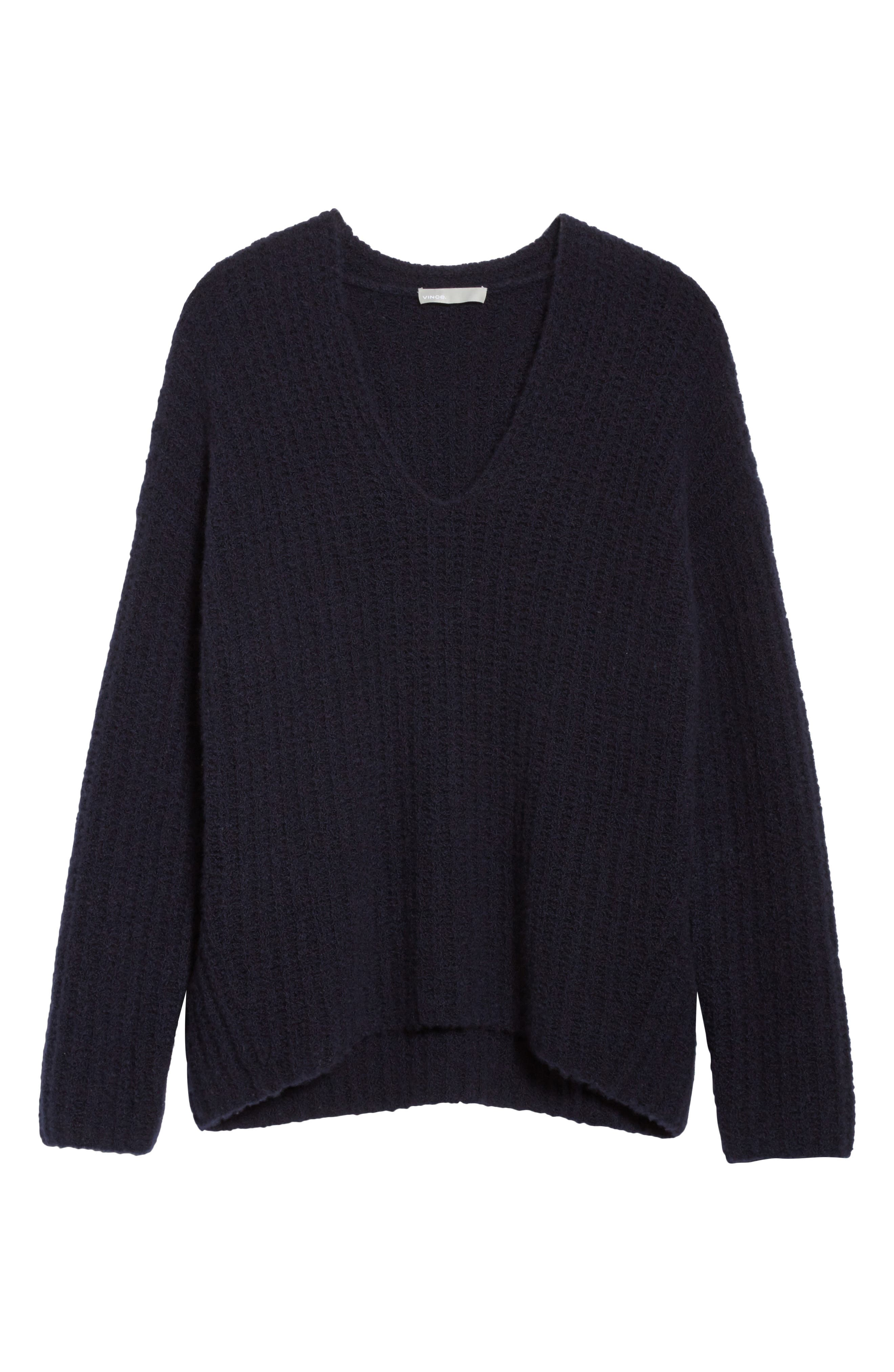 Deep V-Neck Cashmere Blend Sweater,                             Alternate thumbnail 18, color,