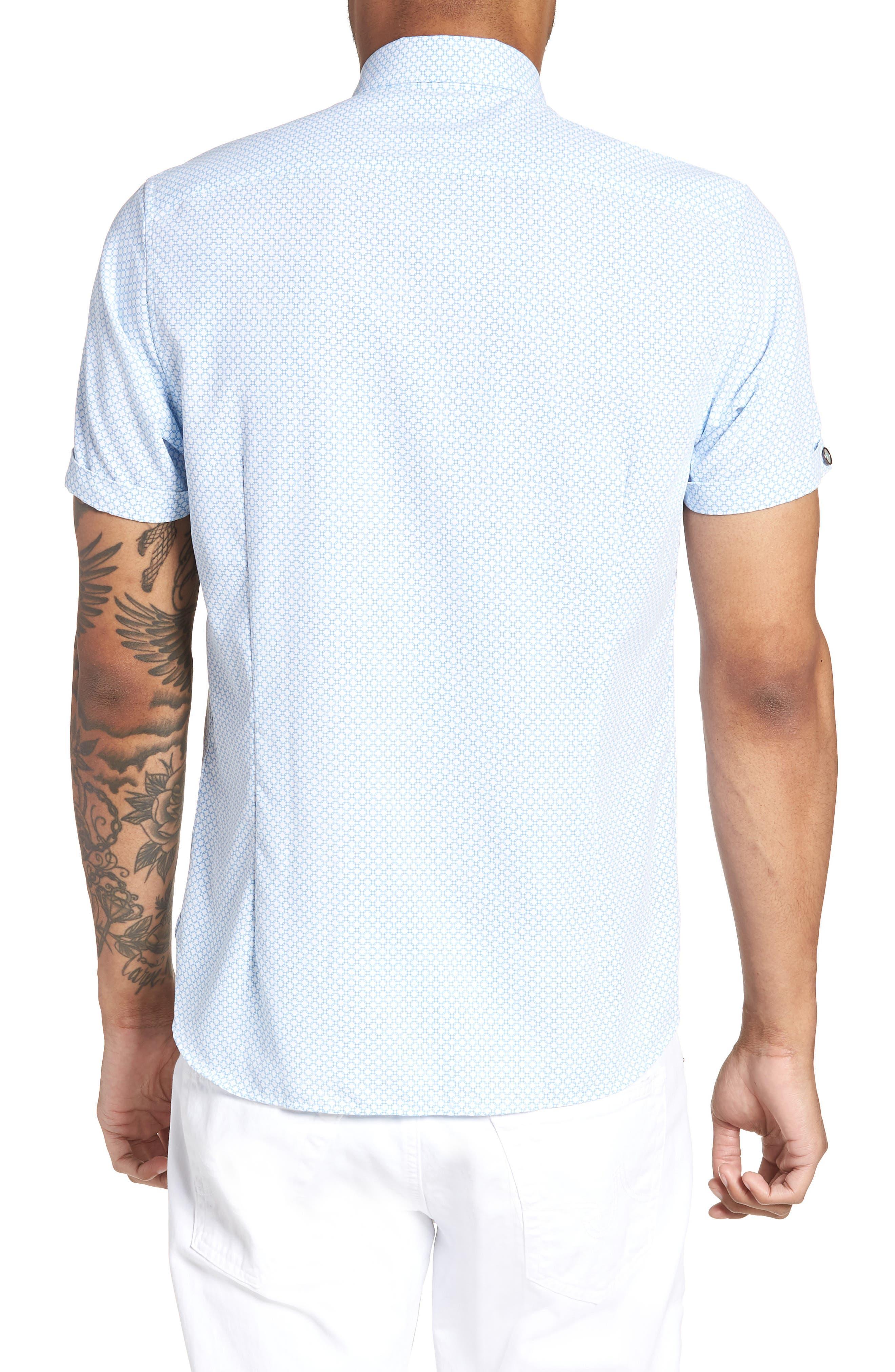 Slim Fit Short Sleeve Sport Shirt,                             Alternate thumbnail 2, color,                             WHITE