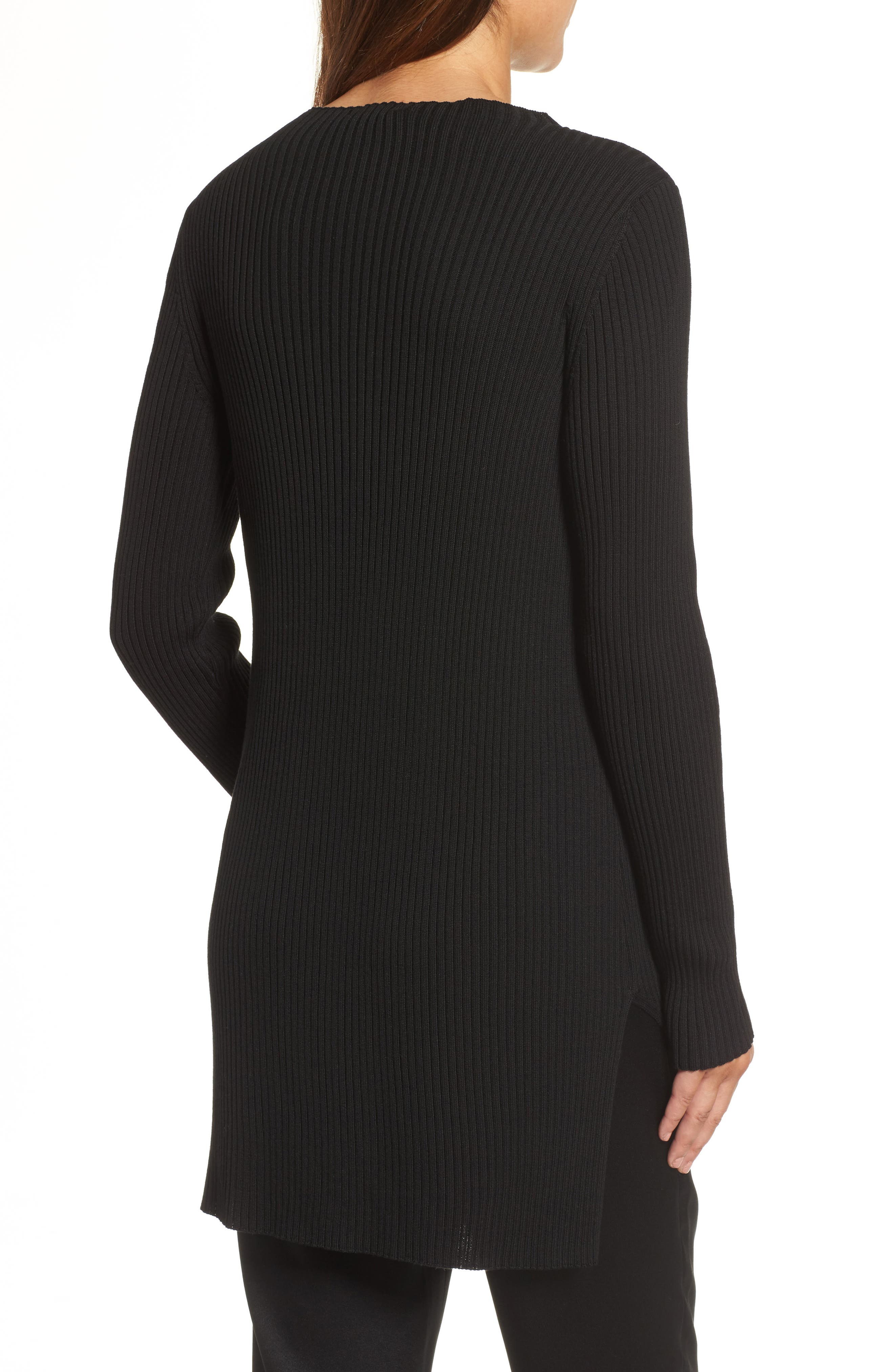 Ribbed Tencel<sup>®</sup> Sweater,                             Alternate thumbnail 2, color,                             001
