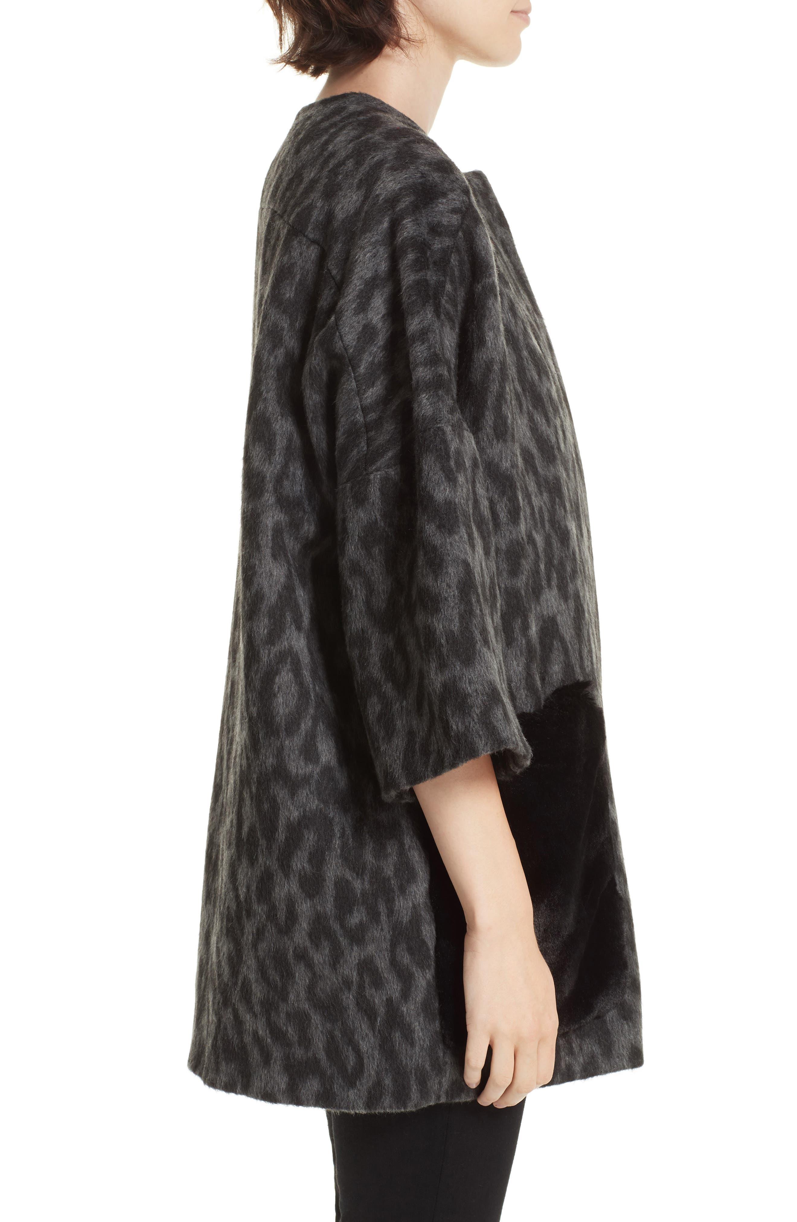 Faux Fur Kimono,                             Alternate thumbnail 3, color,                             FIORELLA L/ C