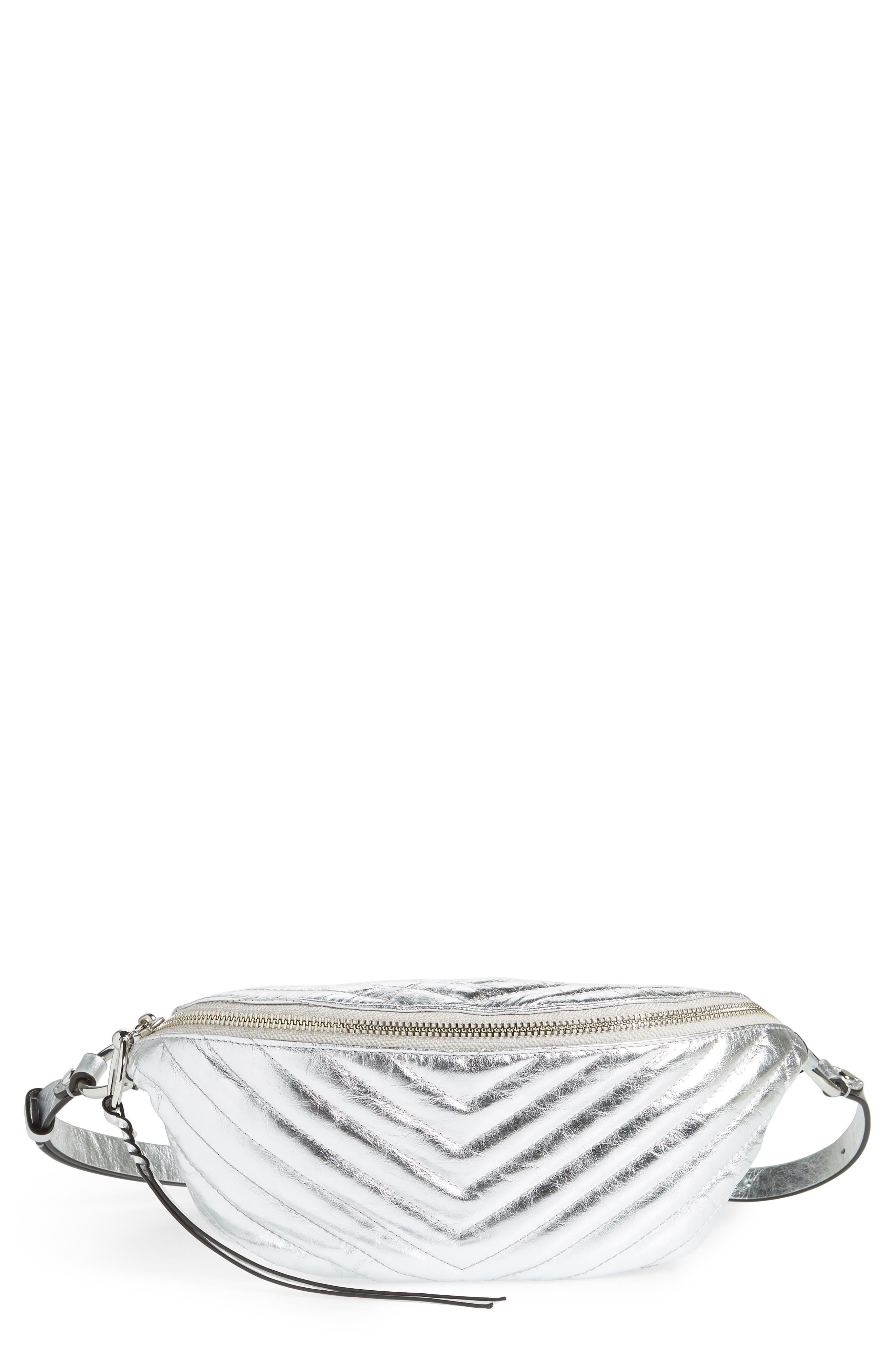 Edie Metallic Leather Belt Bag,                             Main thumbnail 1, color,                             SILVER