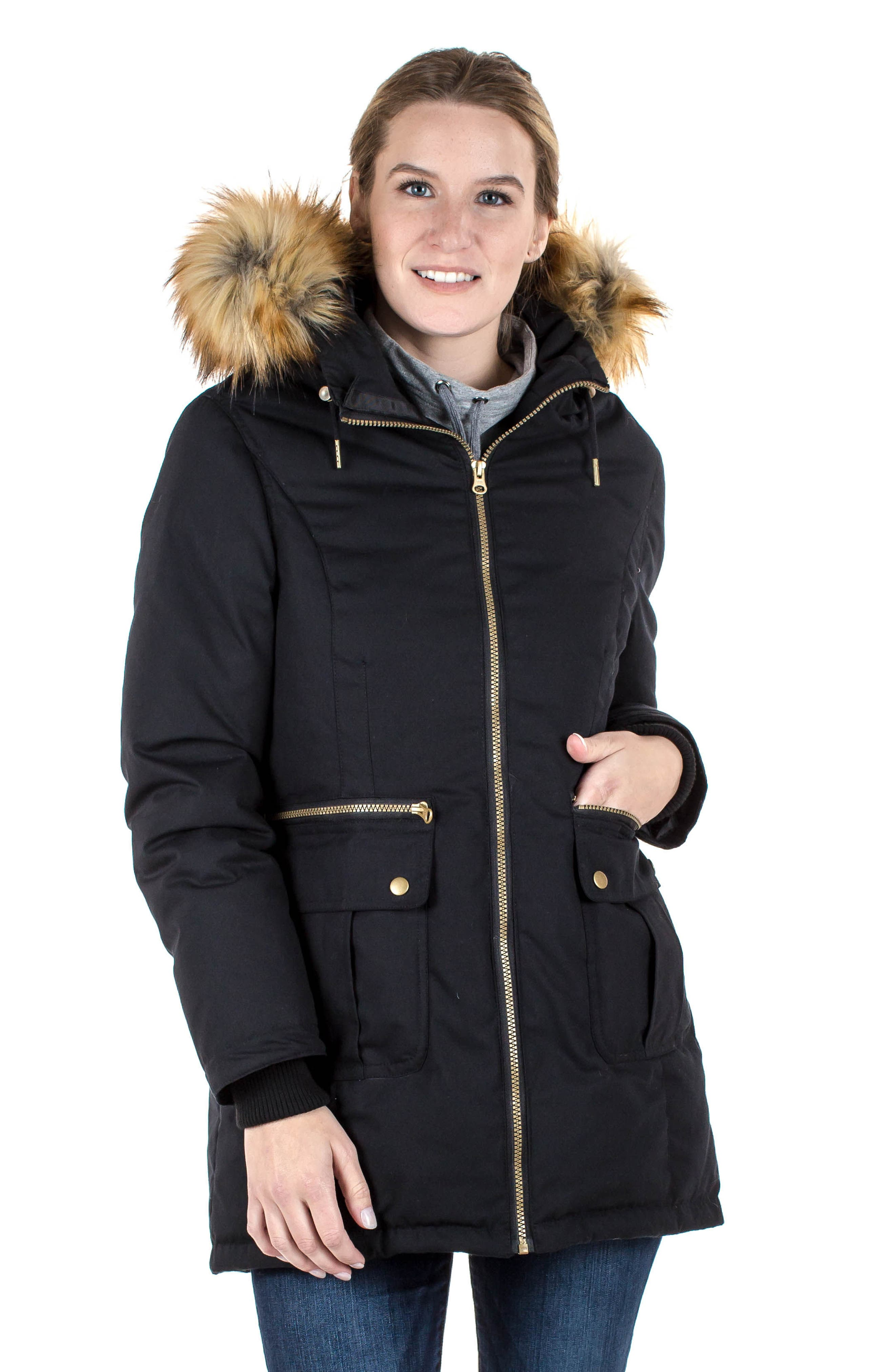 Convertible Down 3-in-1 Maternity Jacket,                             Alternate thumbnail 8, color,                             BLACK