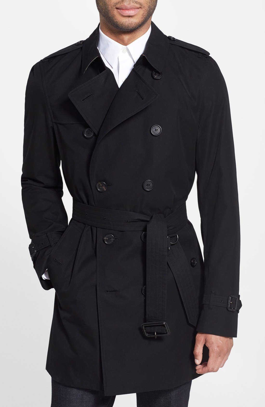 Kensington Double Breasted Trench Coat,                             Main thumbnail 1, color,                             BLACK-NEW