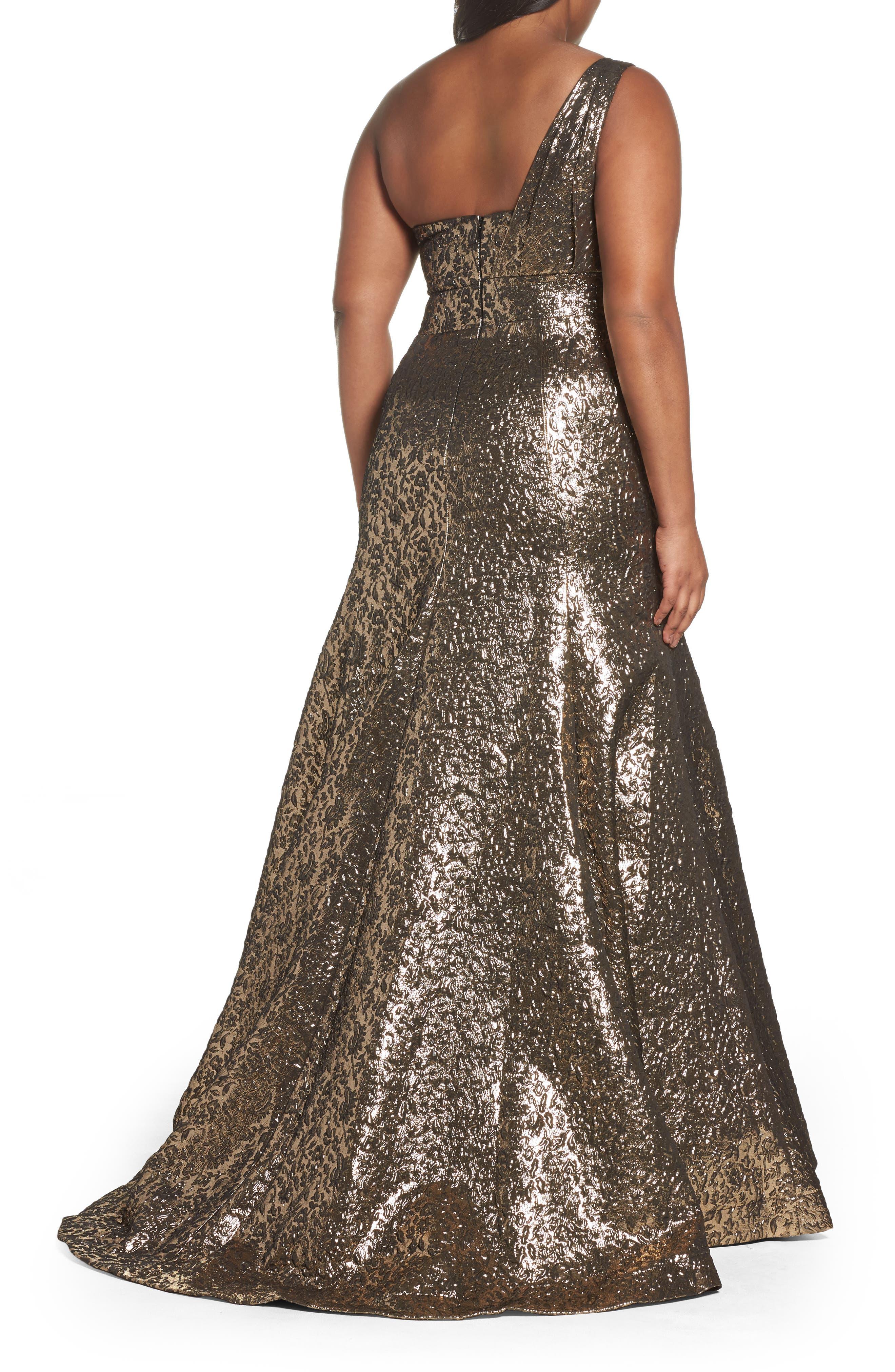 One-Shoulder Metallic Ballgown,                             Alternate thumbnail 2, color,                             ANTIQUE / GOLD