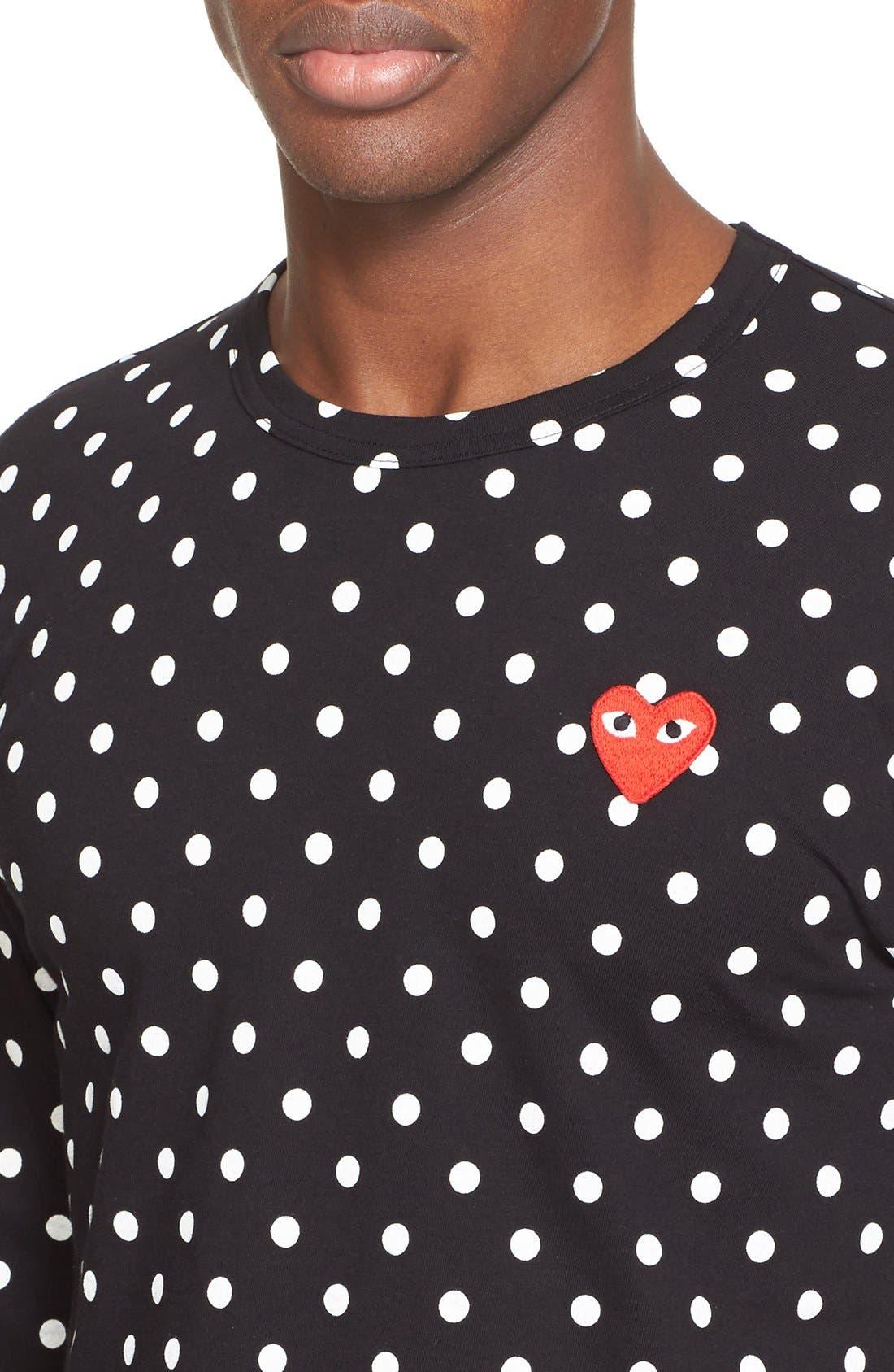 Dot Print Long Sleeve Crewneck T-Shirt,                             Alternate thumbnail 4, color,                             BLACK