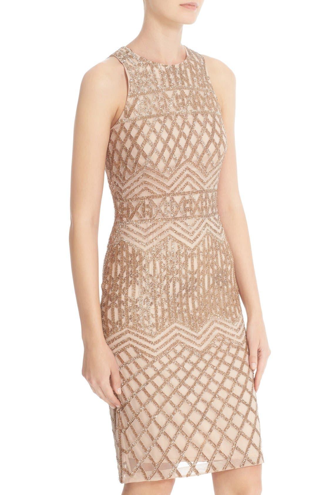 Beaded High Neck Sheath Dress,                             Alternate thumbnail 5, color,                             710