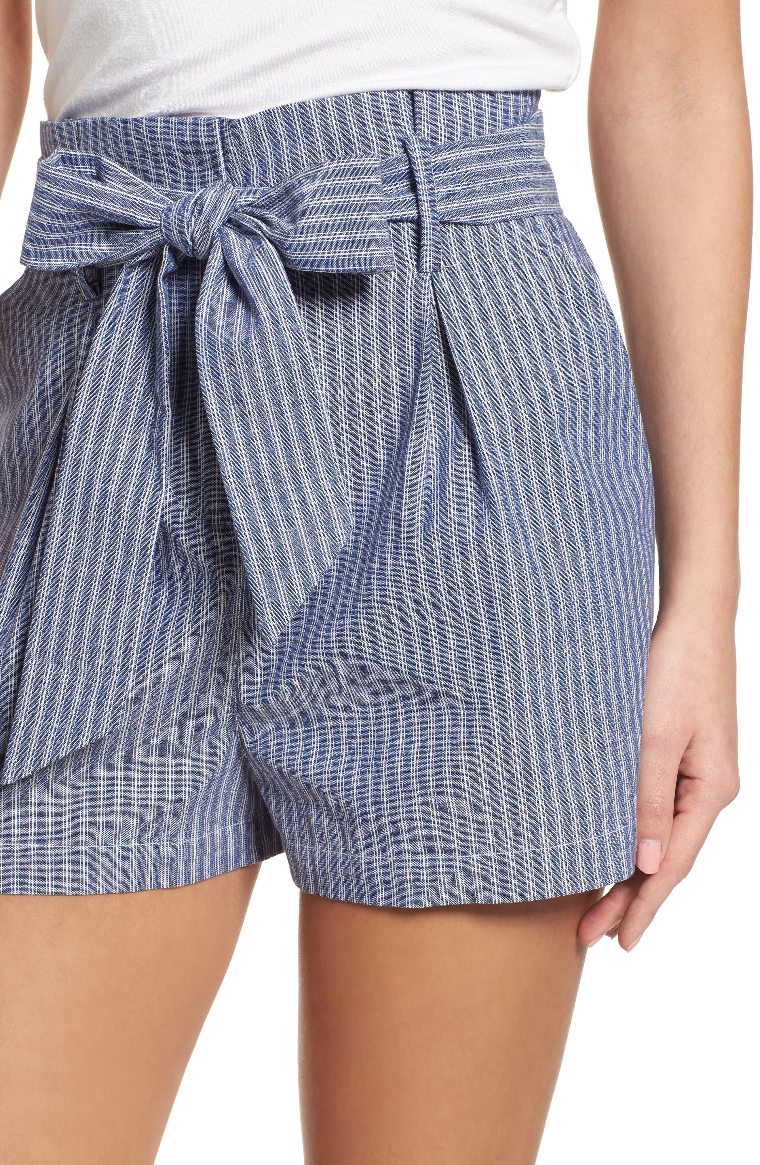 Paperbag Waist Stripe Shorts,                             Alternate thumbnail 4, color,                             461