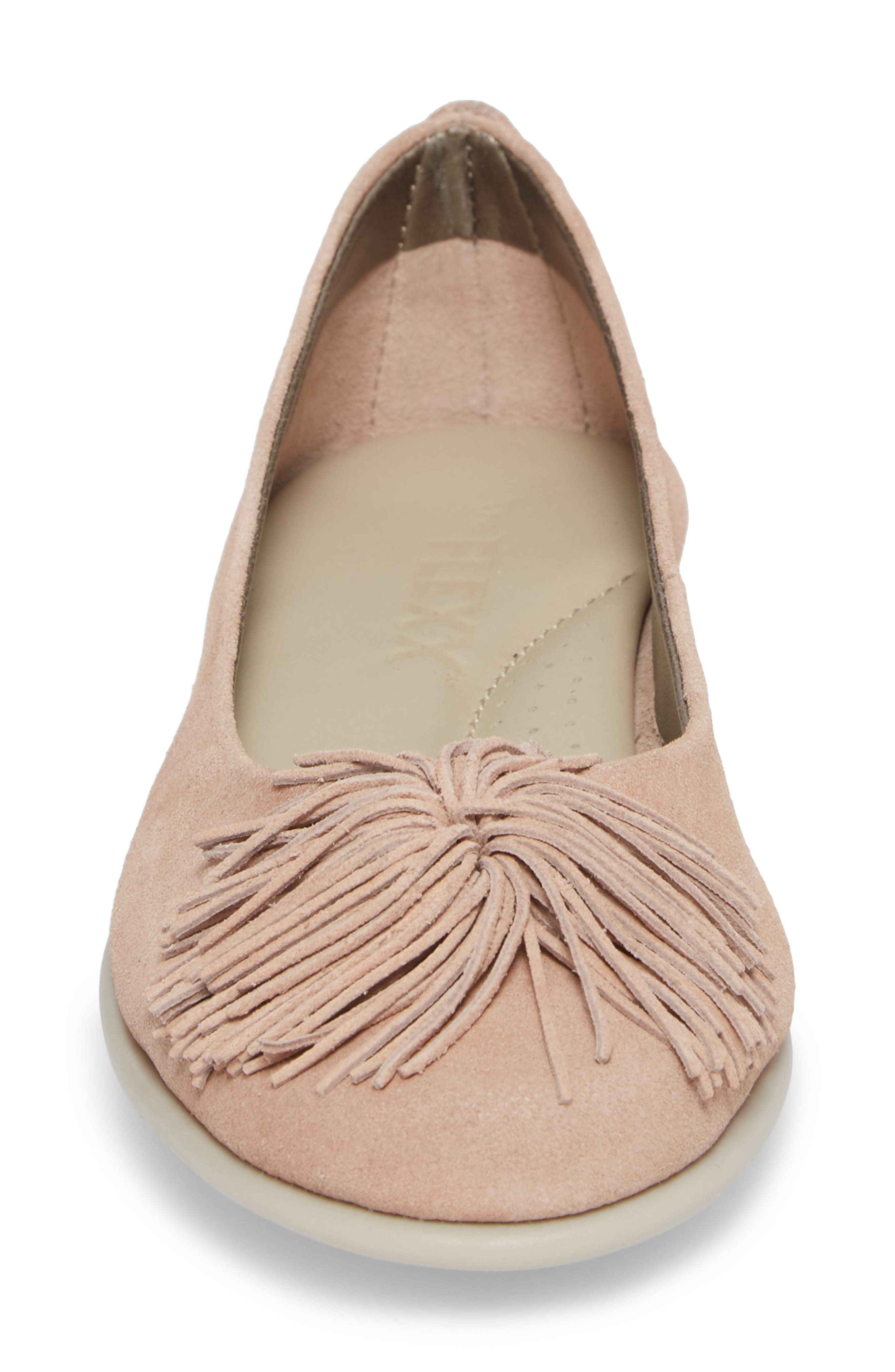 THE FLEXX,                             Pompom Flat,                             Alternate thumbnail 4, color,                             ROSE GOLD LEATHER