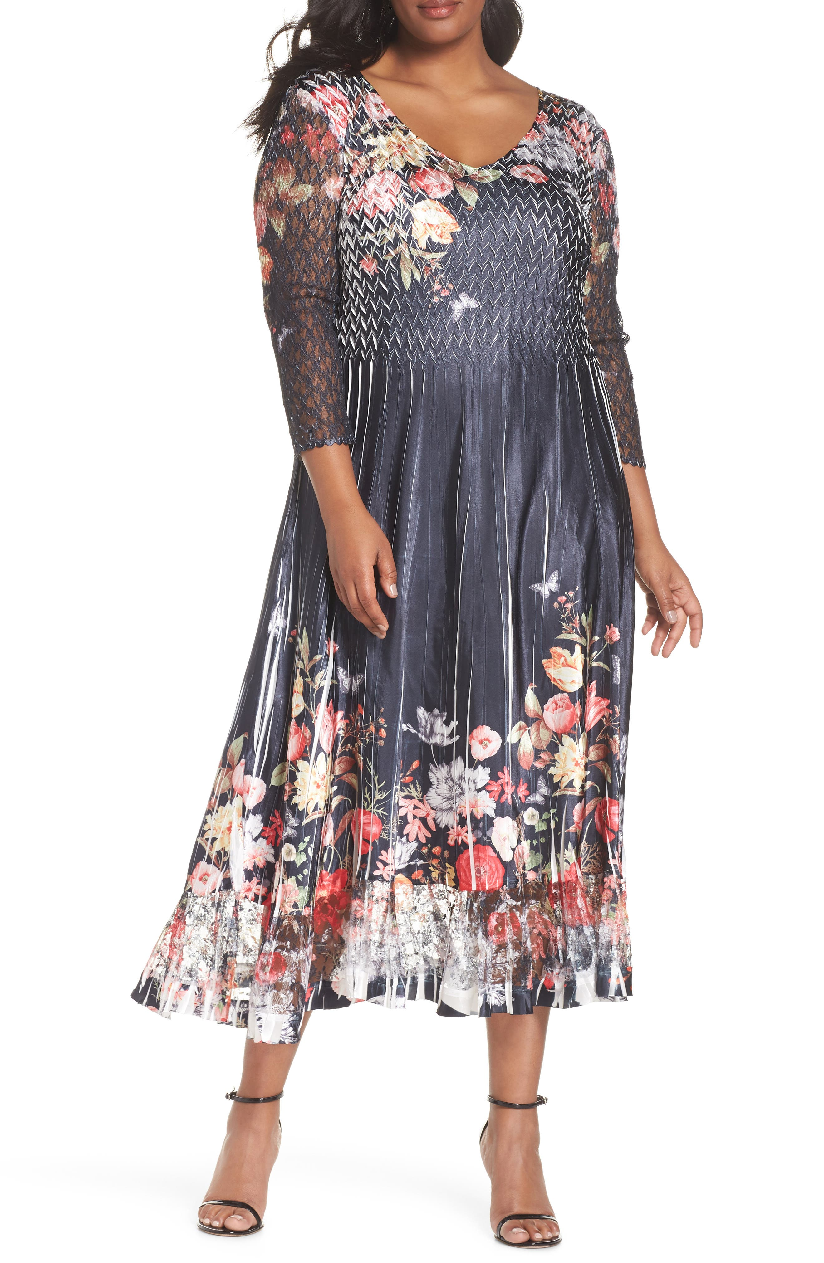 Plus Size Komarov Charmeuse Chiffon A-Line Dress, Blue