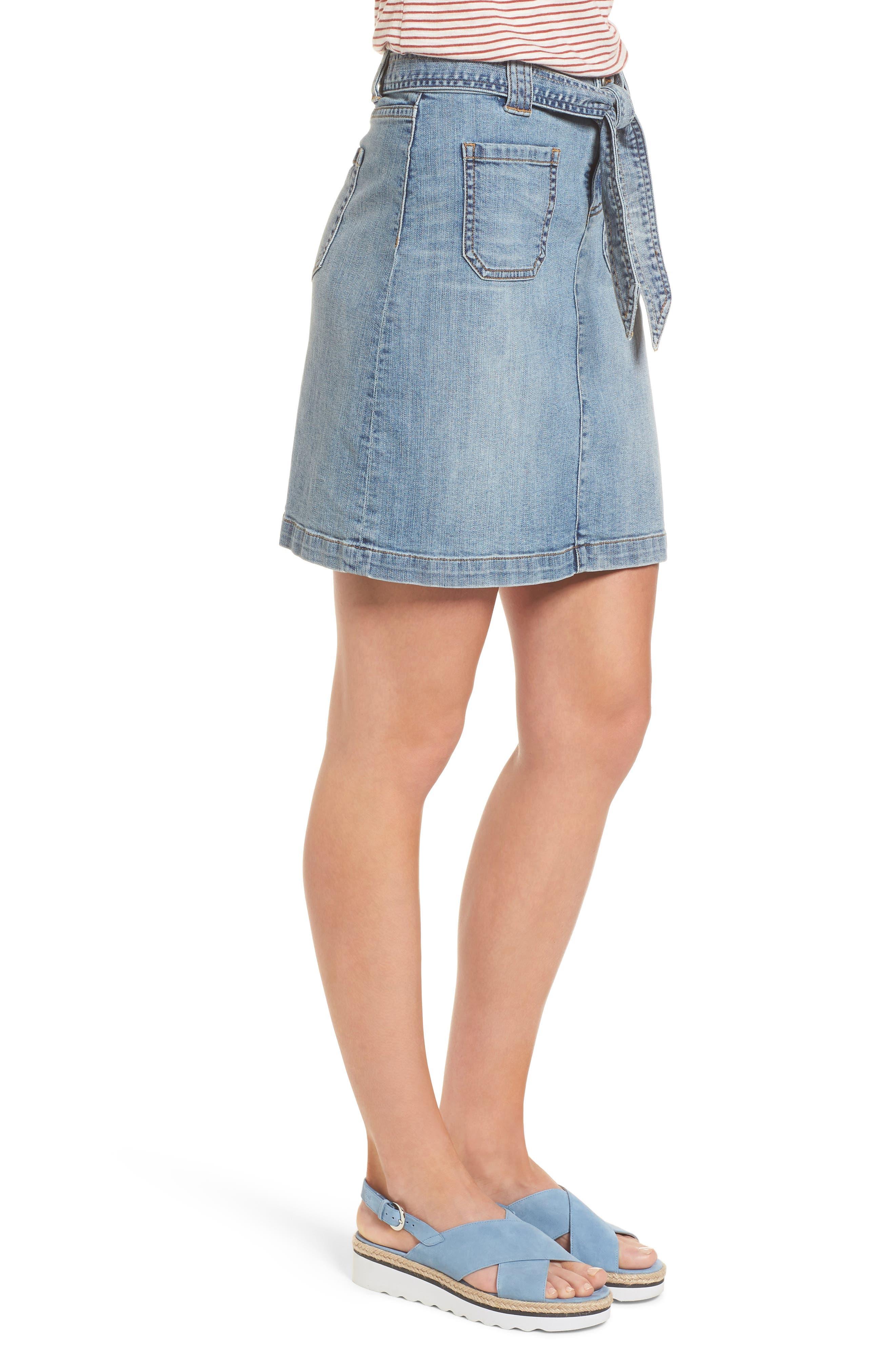 Belted Stretch Denim Skirt,                             Alternate thumbnail 3, color,                             420