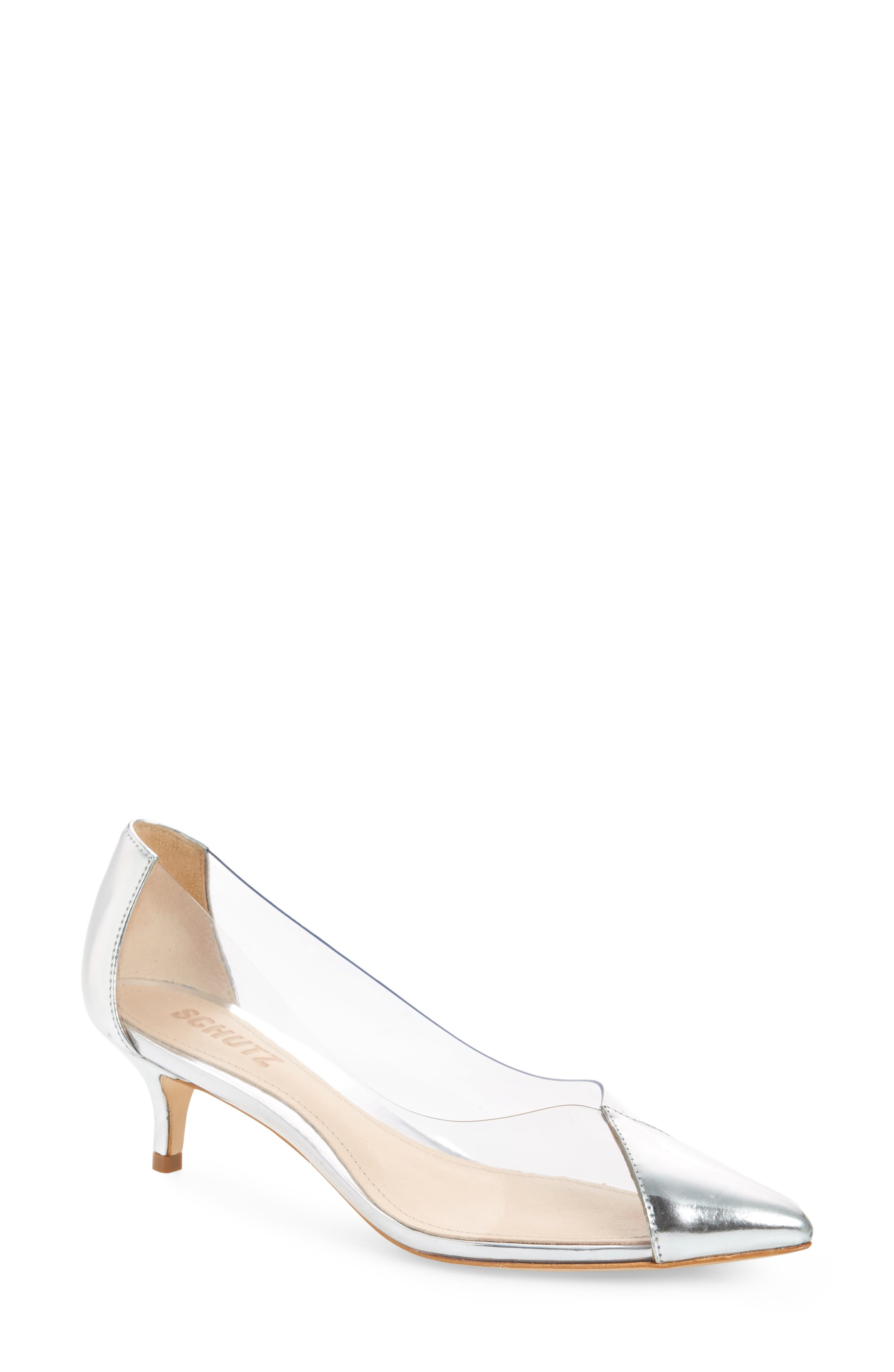 Cyou Clear Pointy Toe Pump,                         Main,                         color, SILVER SPECHIO
