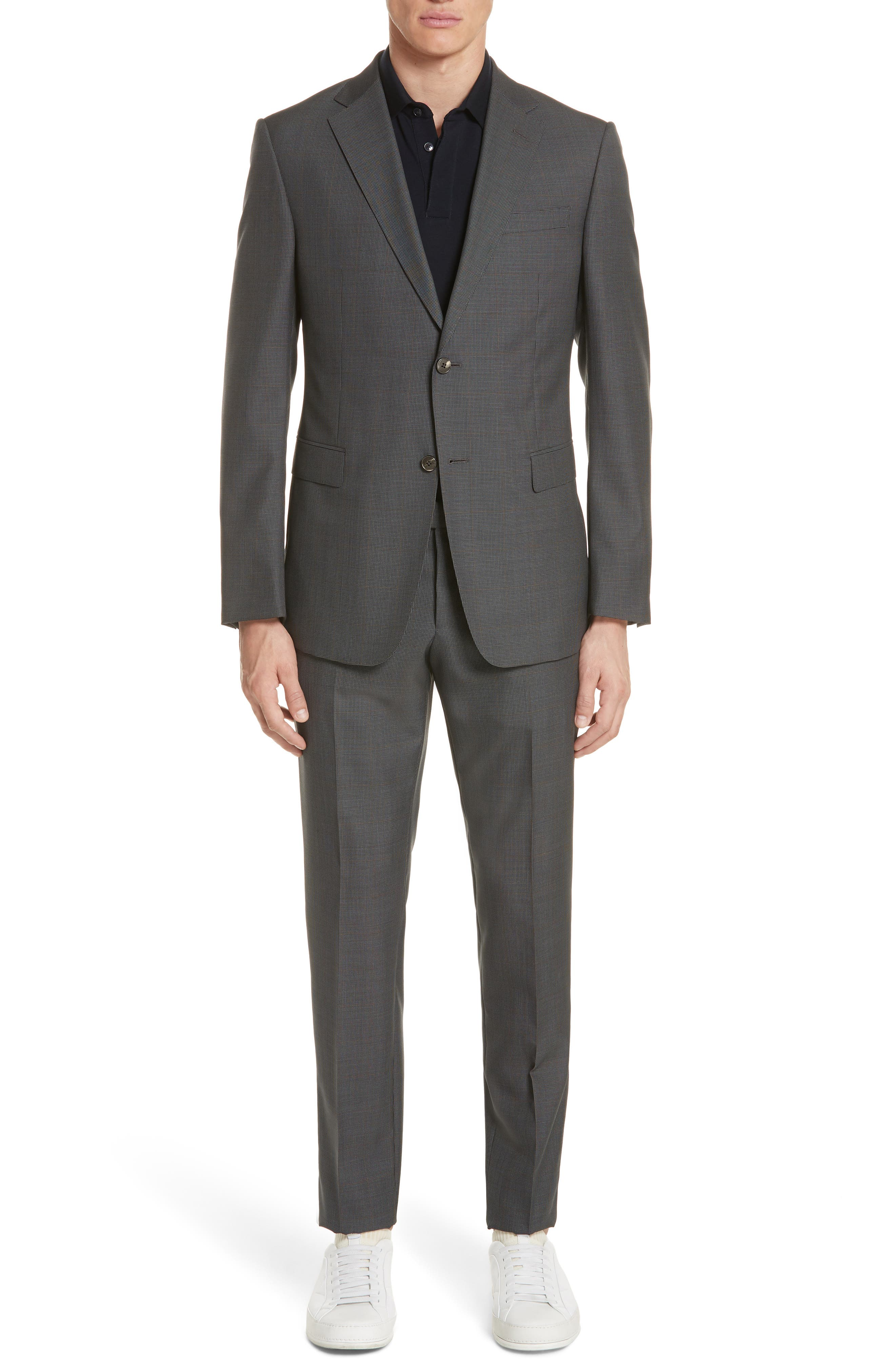 Trim Fit Houndstooth Wool & Silk Suit,                         Main,                         color, 026
