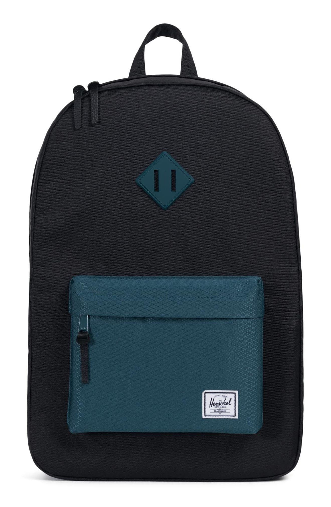 Heritage Backpack,                             Main thumbnail 1, color,                             BLACK/ DEEP TEAL