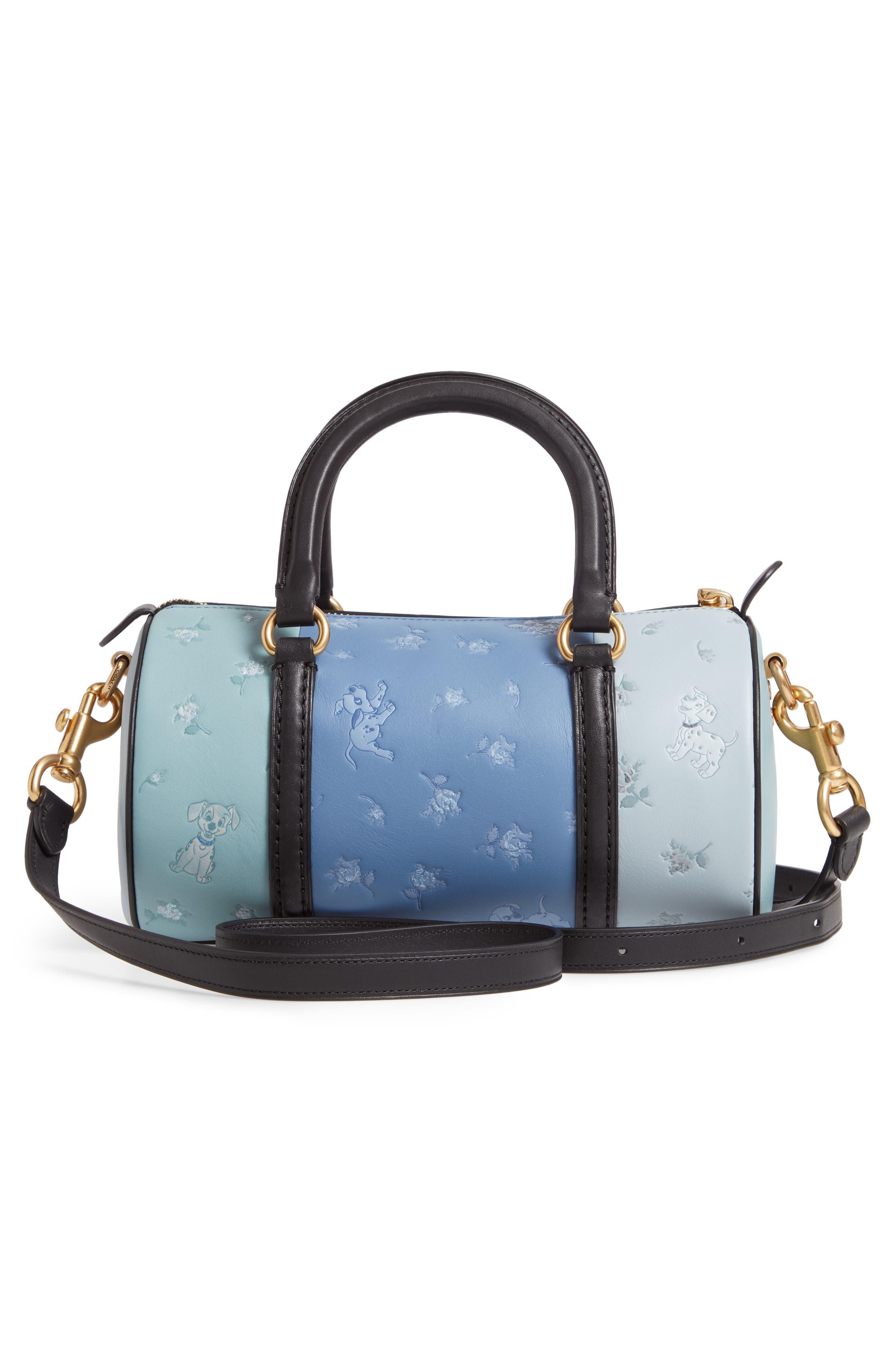 Disney x COACH 101 Dalmatians Leather Barrel Bag,                             Alternate thumbnail 3, color,                             402