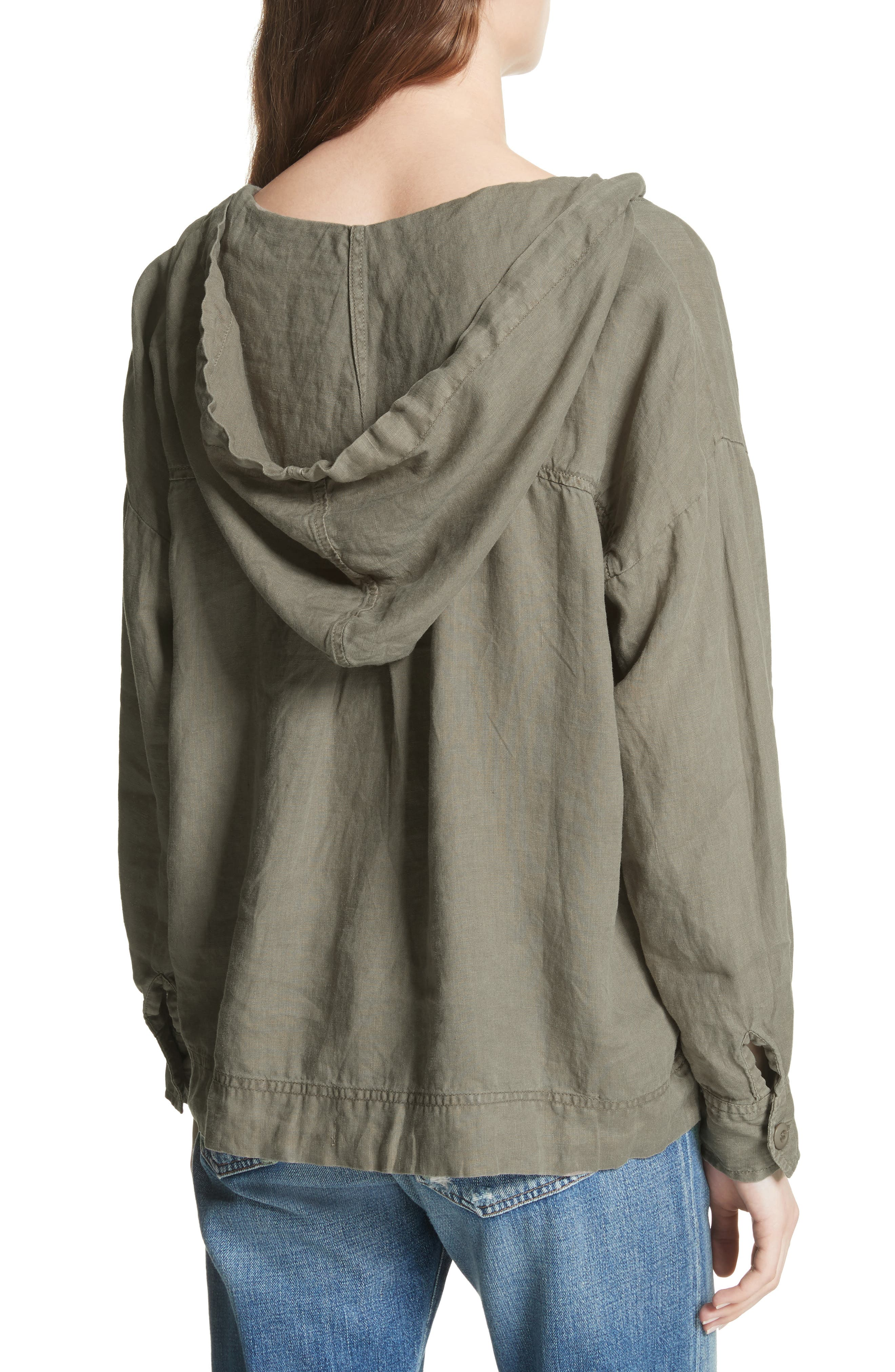 Dalal Linen Hoodie Top,                             Alternate thumbnail 2, color,