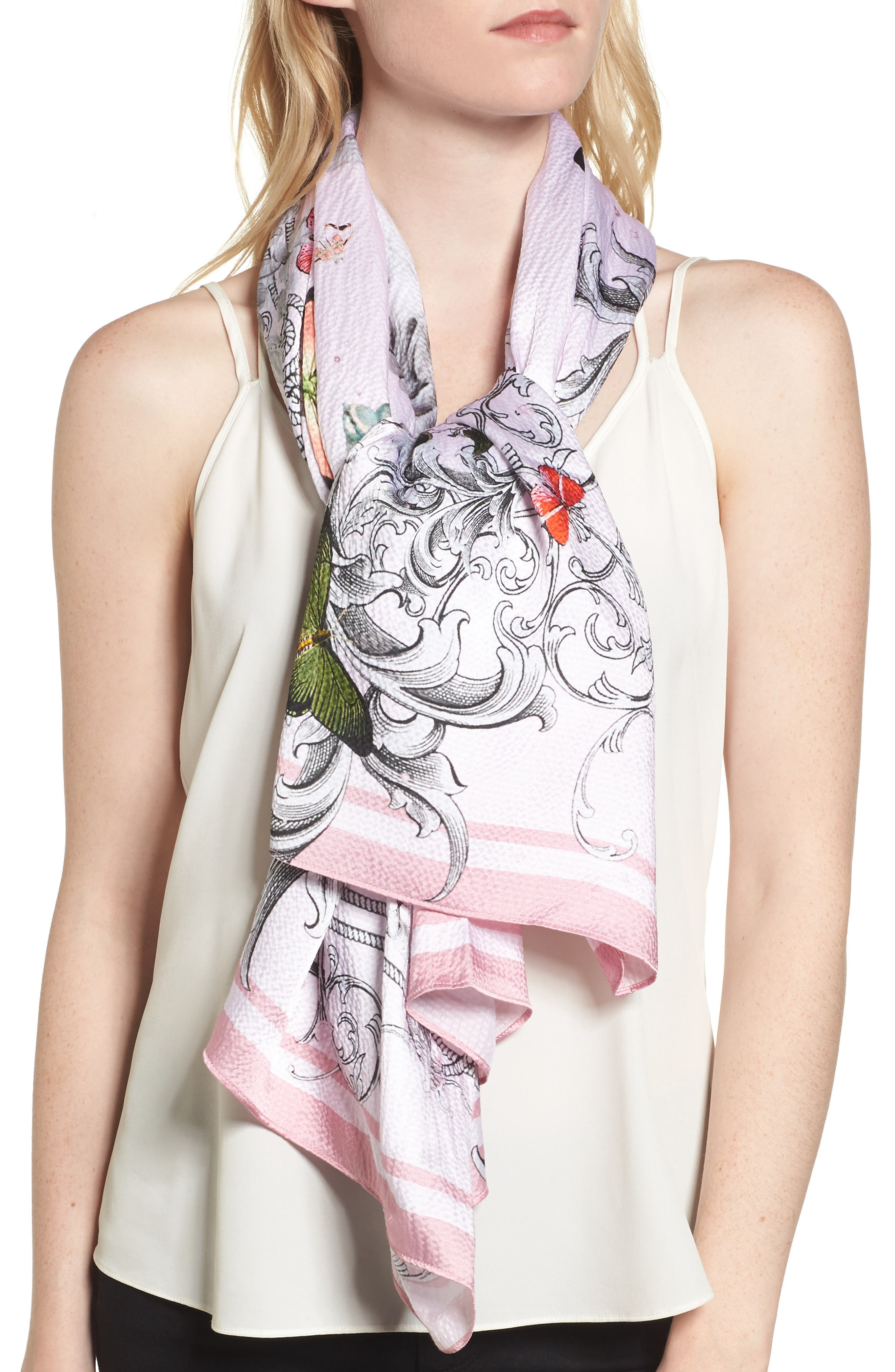 Enchanted Dream Silk Cape Scarf,                             Alternate thumbnail 4, color,                             680