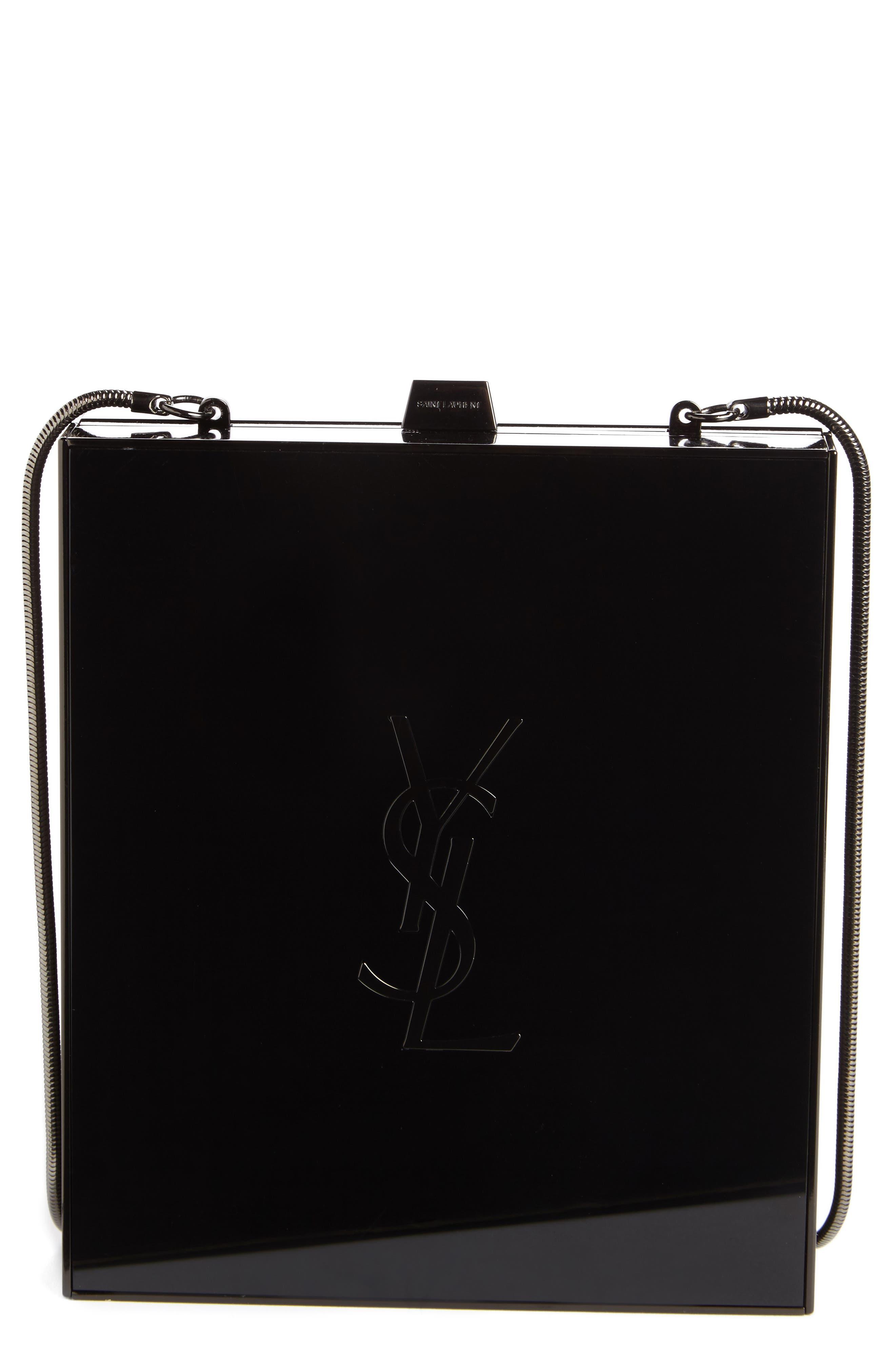 SAINT LAURENT Tuxedo Plexiglass Clutch, Main, color, NOIR/ BLK MATTE