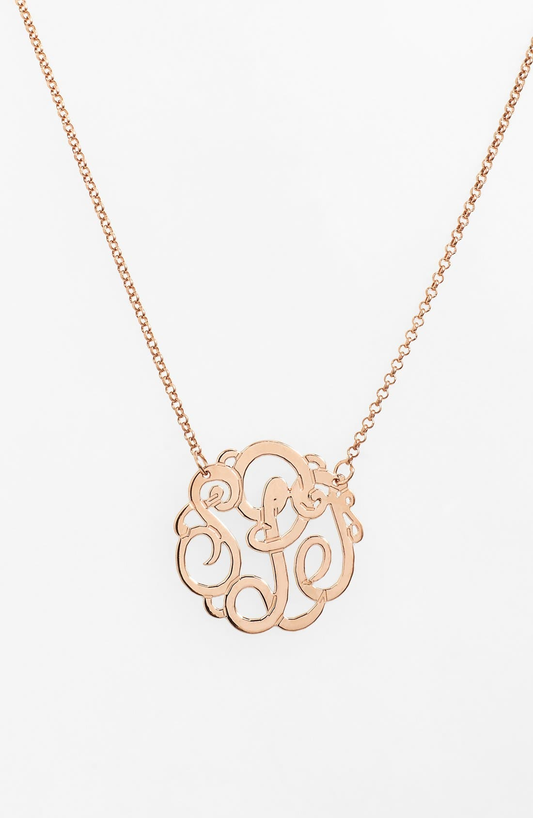 Personalized Small 3-Initial Letter Monogram Necklace,                             Main thumbnail 1, color,                             ROSE GOLD