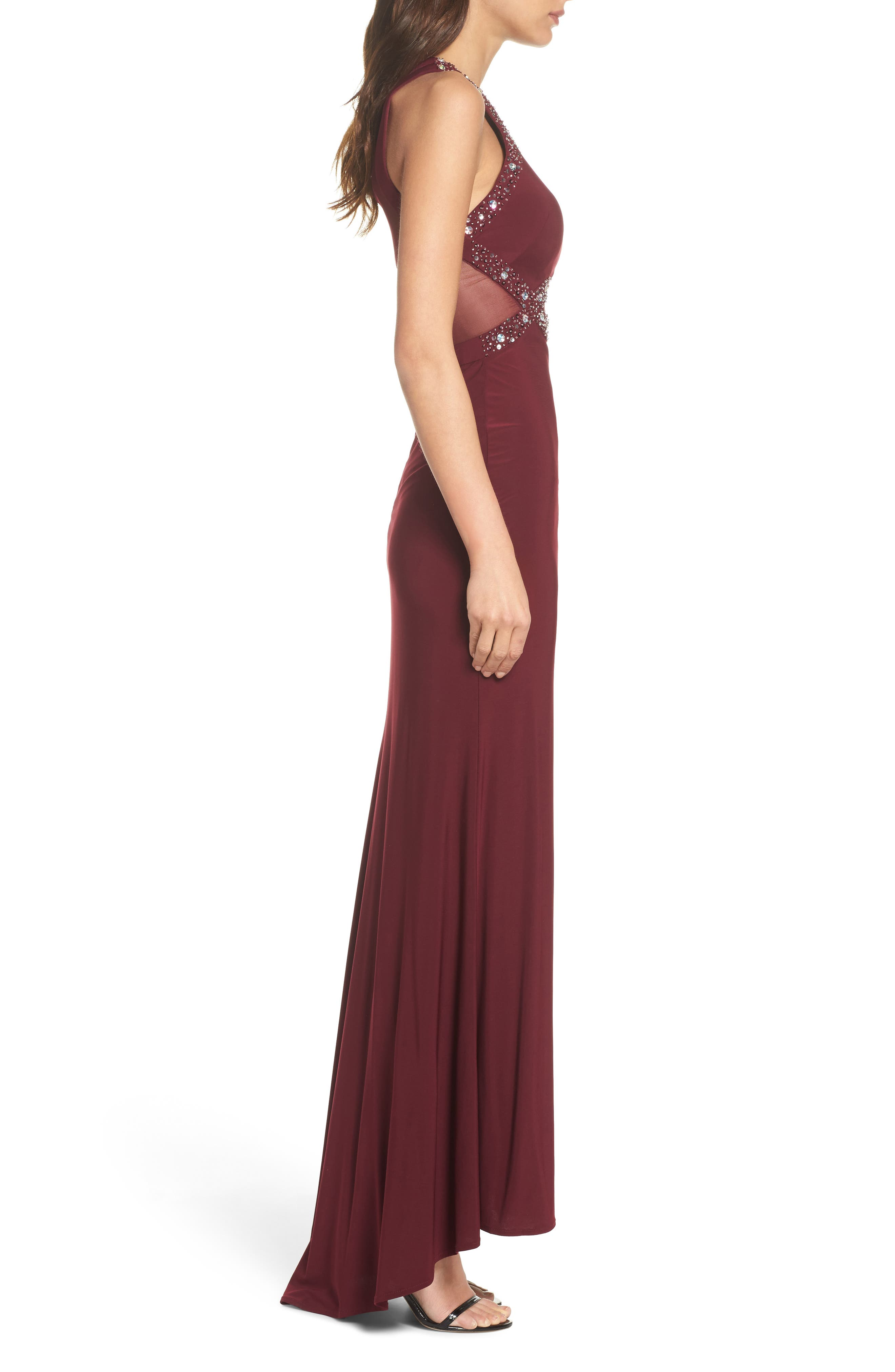 Embellished Illusion Gown,                             Alternate thumbnail 3, color,                             MERLOT