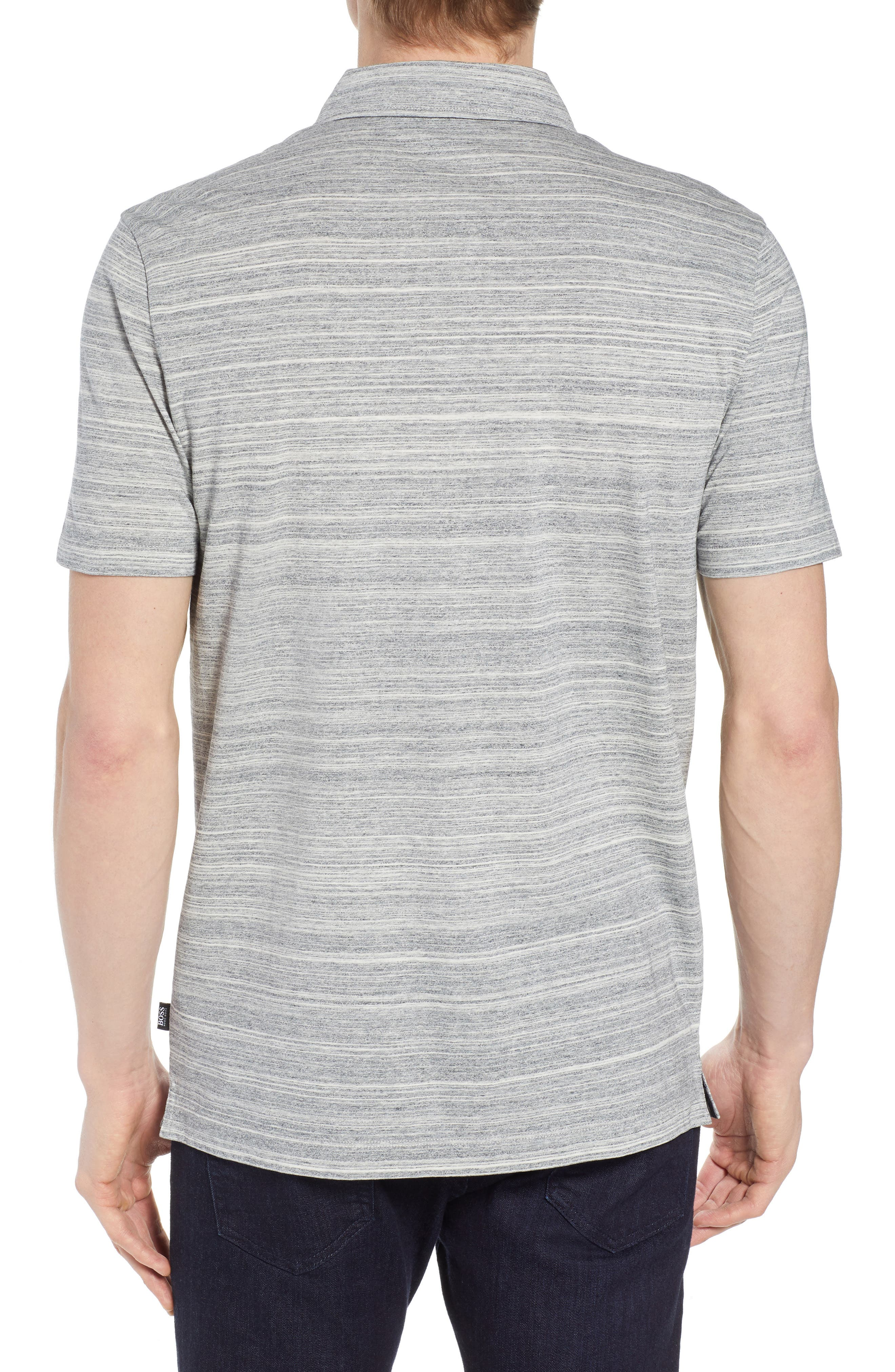 Place Slim Fit Space Dyed Polo,                             Alternate thumbnail 2, color,                             LIGHT GREY