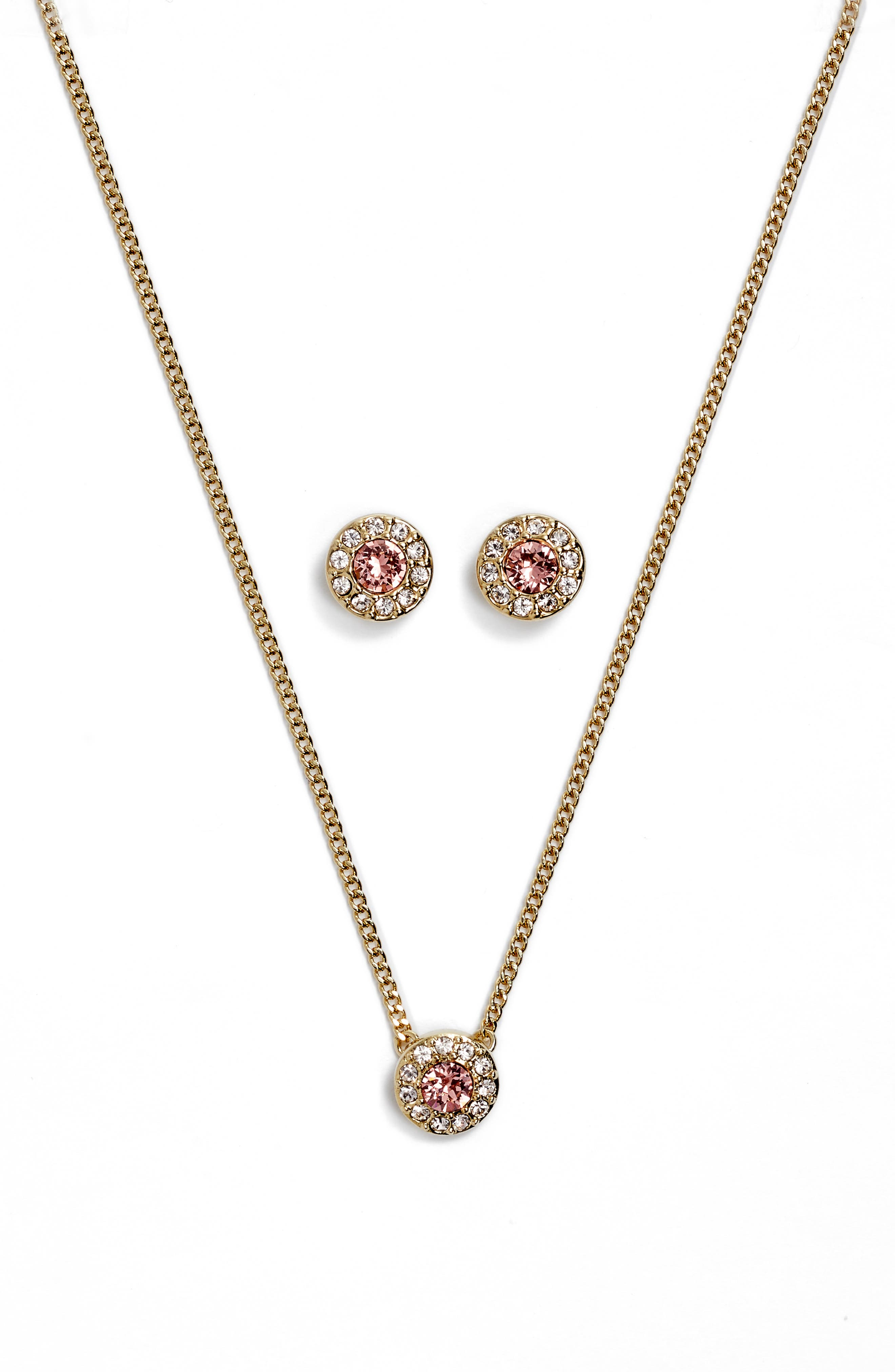 Pavé Necklace & Earrings Set,                             Main thumbnail 1, color,                             710