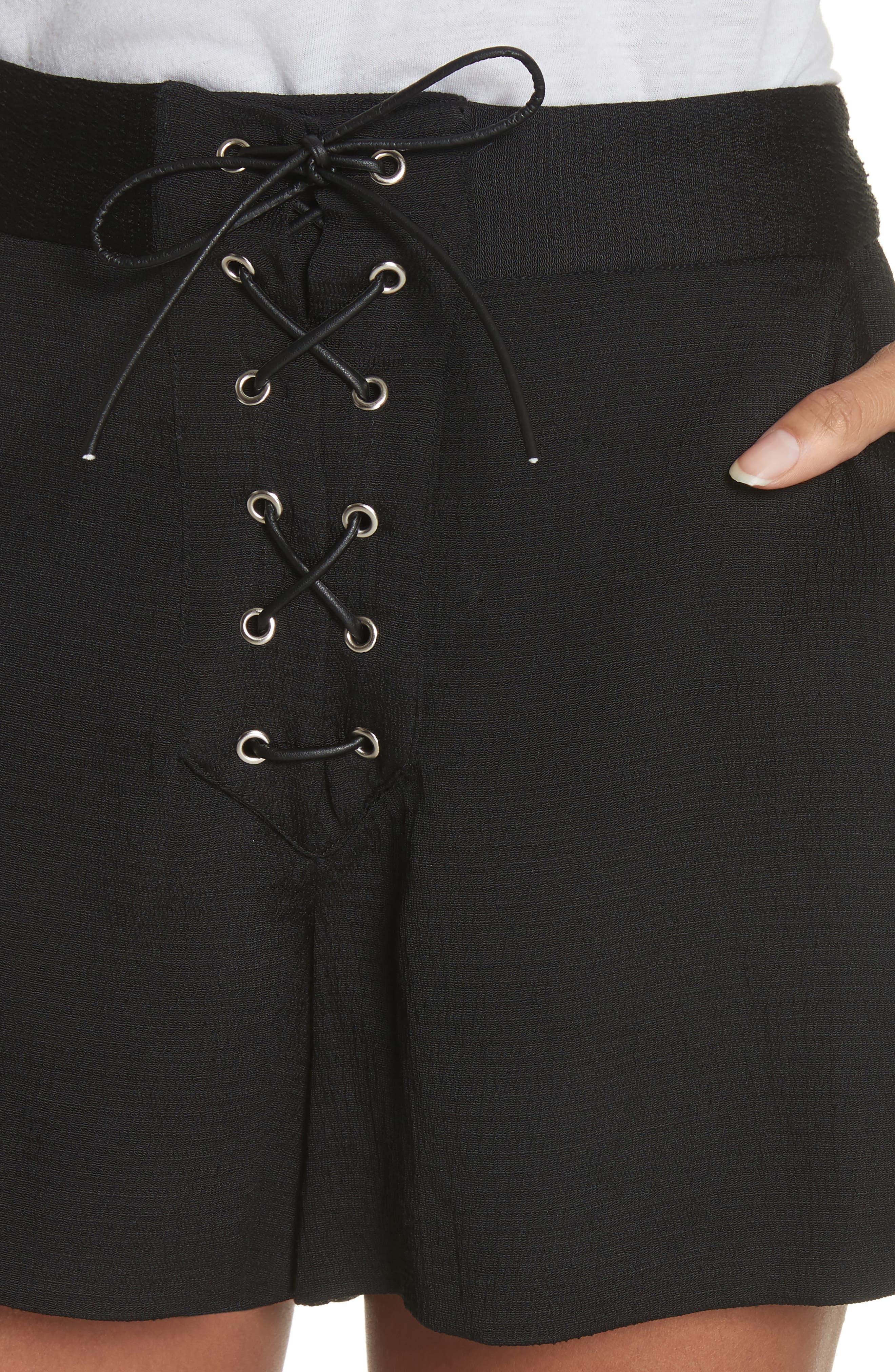 Lulu Lace-Up Shorts,                             Alternate thumbnail 4, color,                             001