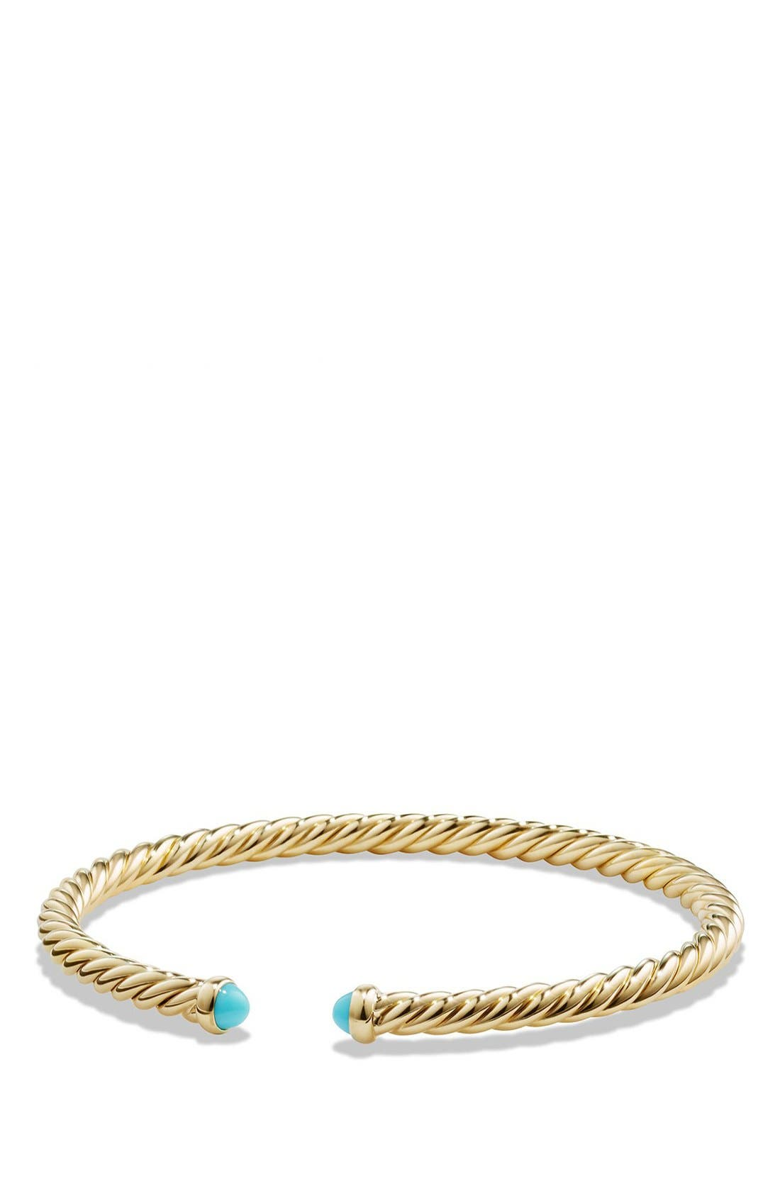 Cable Spira Bracelet with Semiprecious Stones in 18K Gold,                         Main,                         color, TURQUOISE