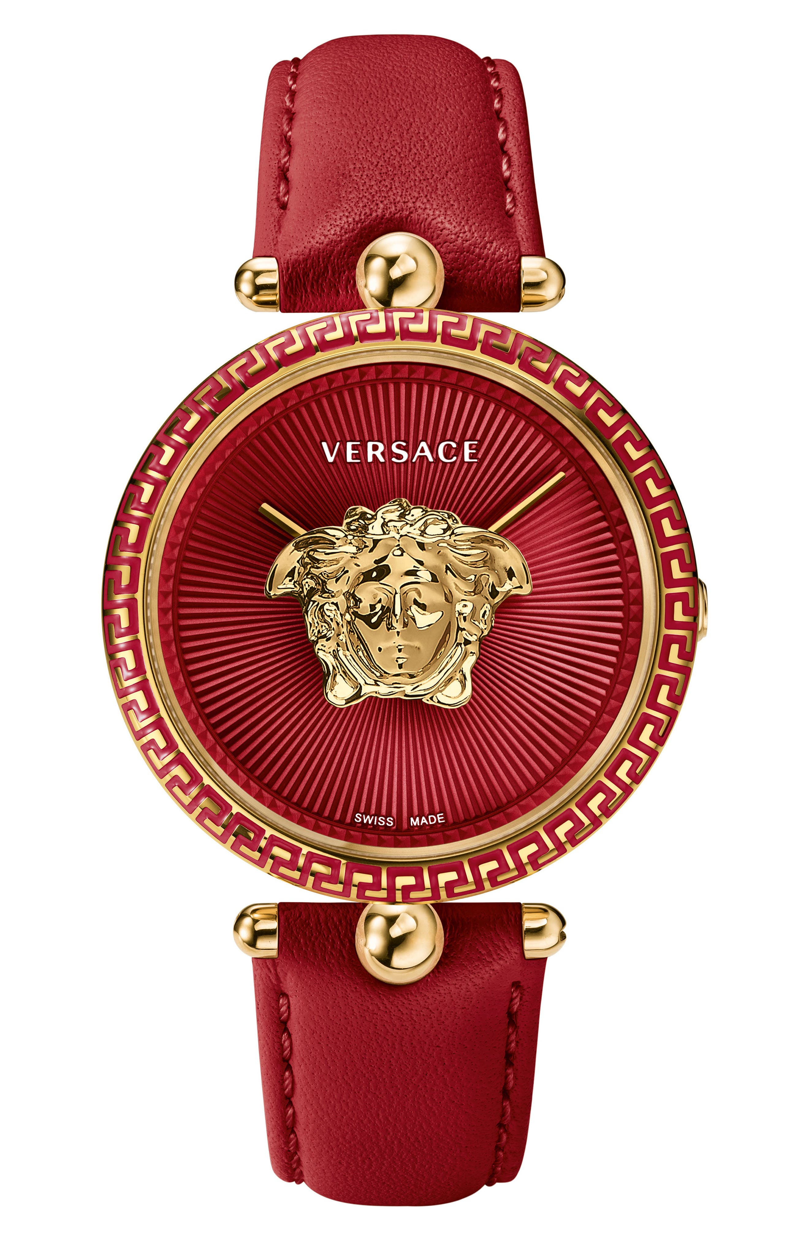 Palazzo Empire Leather Strap Watch, 39mm,                         Main,                         color, RED/ GOLD
