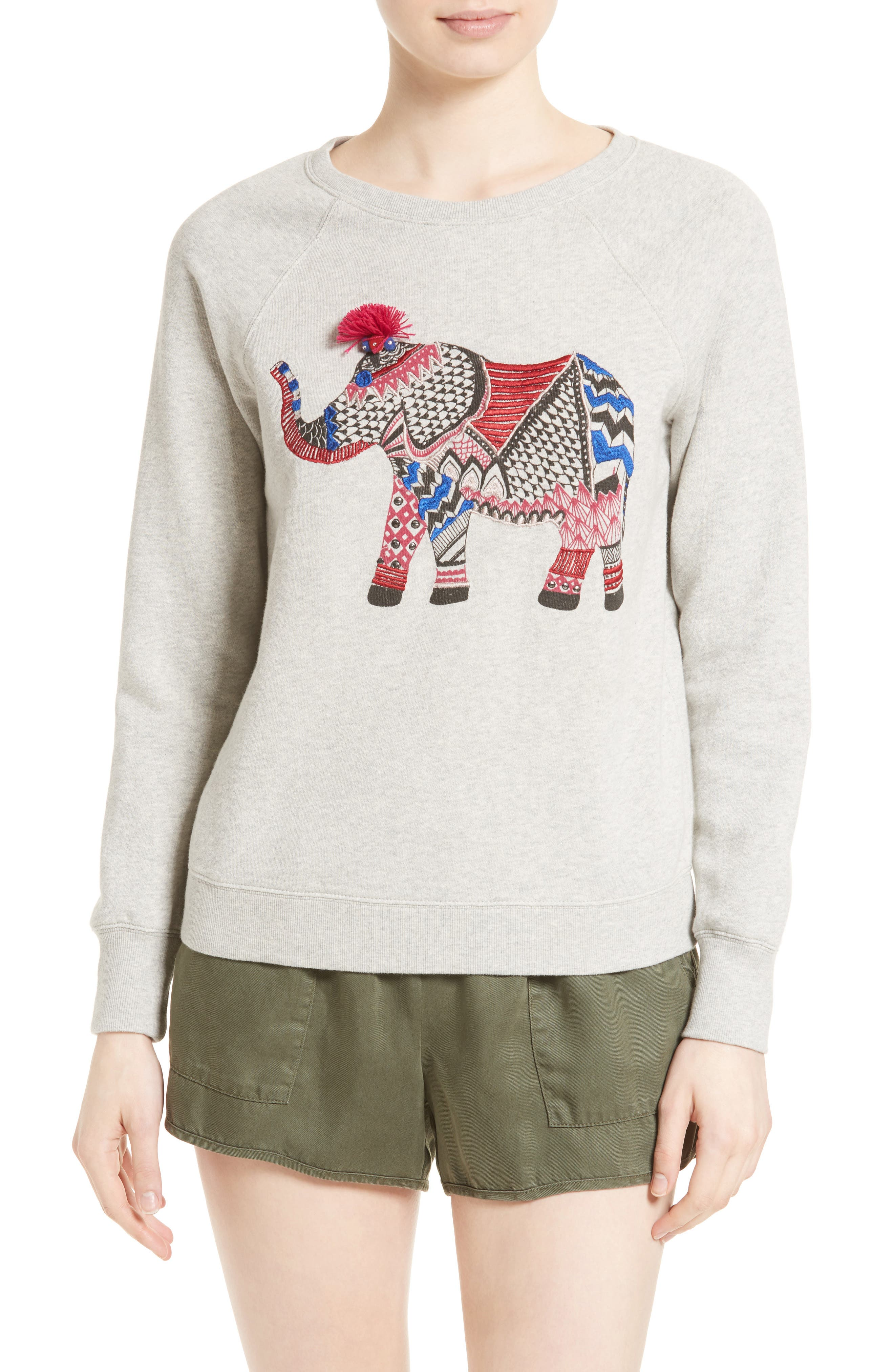 SOFT JOIE Annora Embroidered Elephant Sweatshirt, Main, color, 099