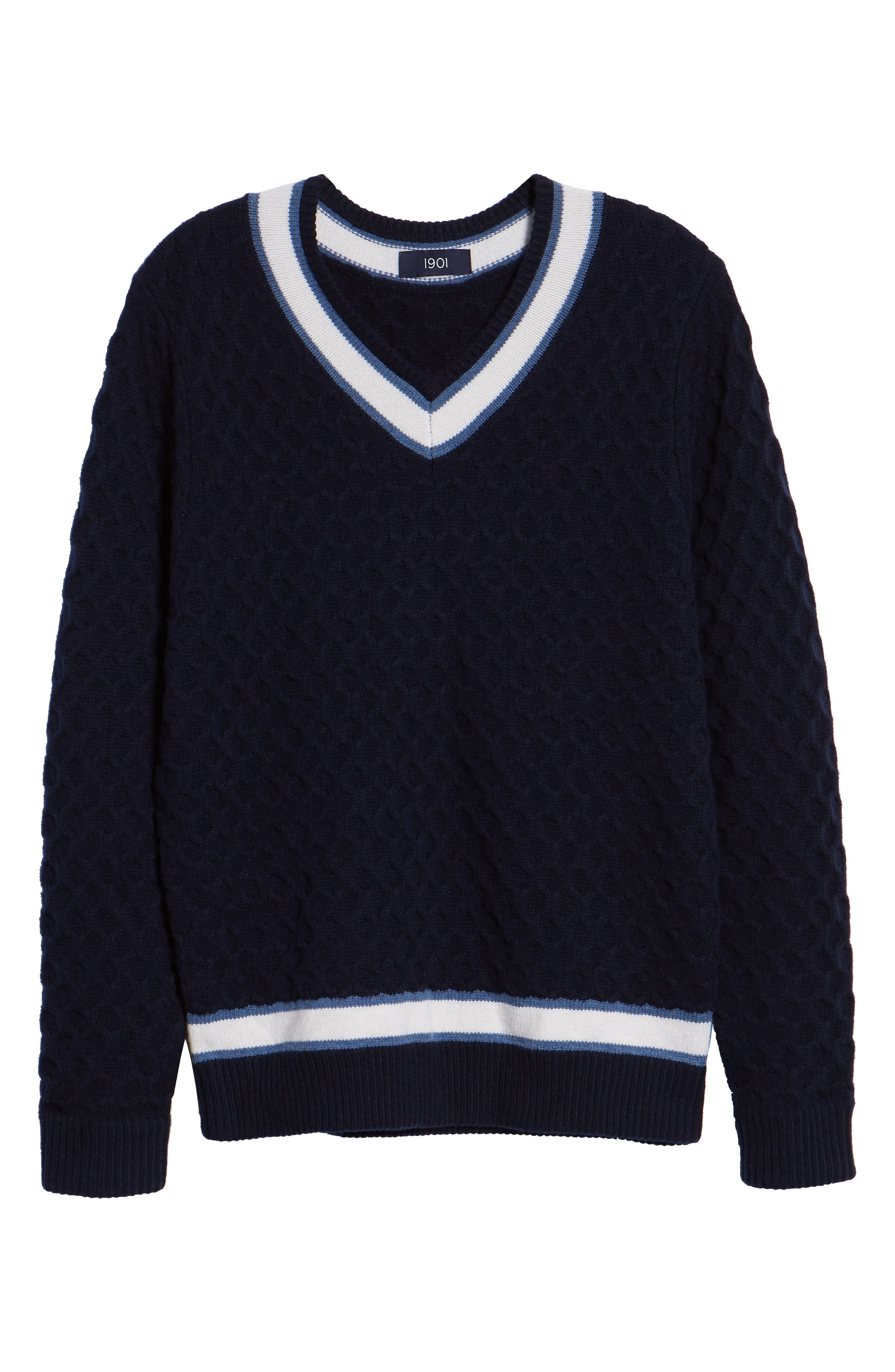 Varsity Stripe V-Neck Wool Blend Sweater,                             Alternate thumbnail 6, color,                             NAVY IRIS