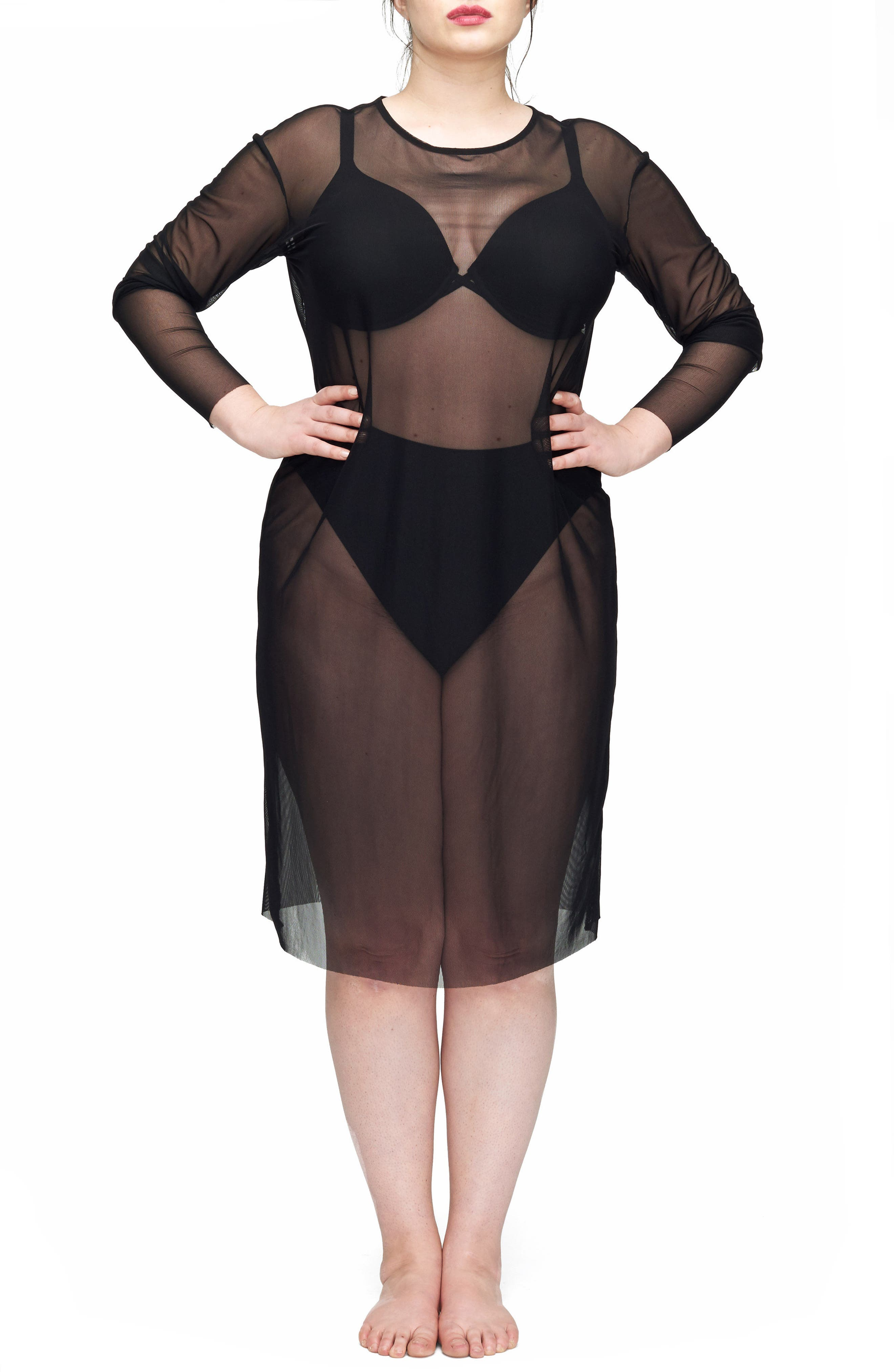 Thames Fog Sheer Dress,                             Main thumbnail 1, color,                             BLACK