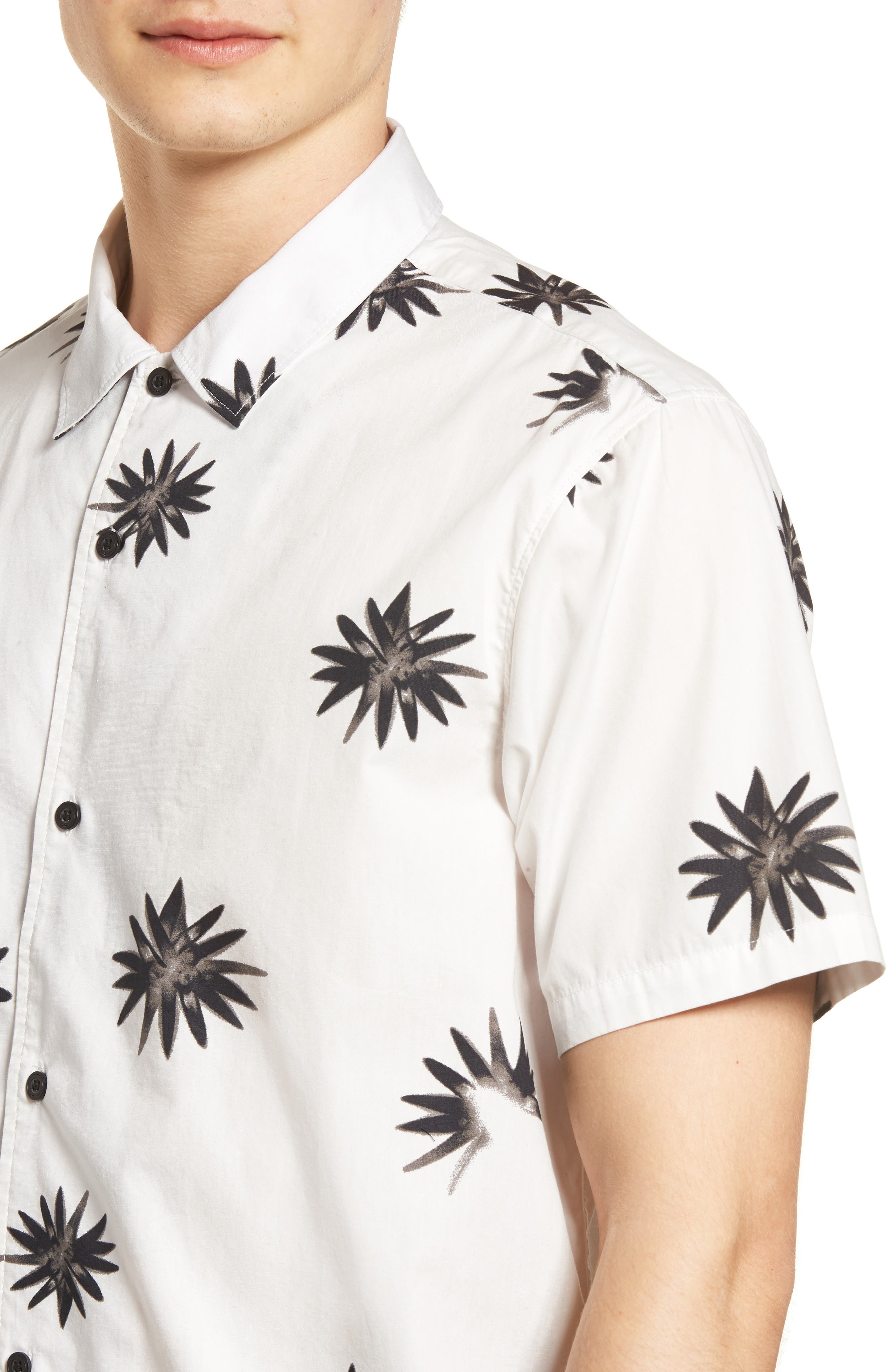 Villa Floral Woven Shirt,                             Alternate thumbnail 4, color,                             WHITE