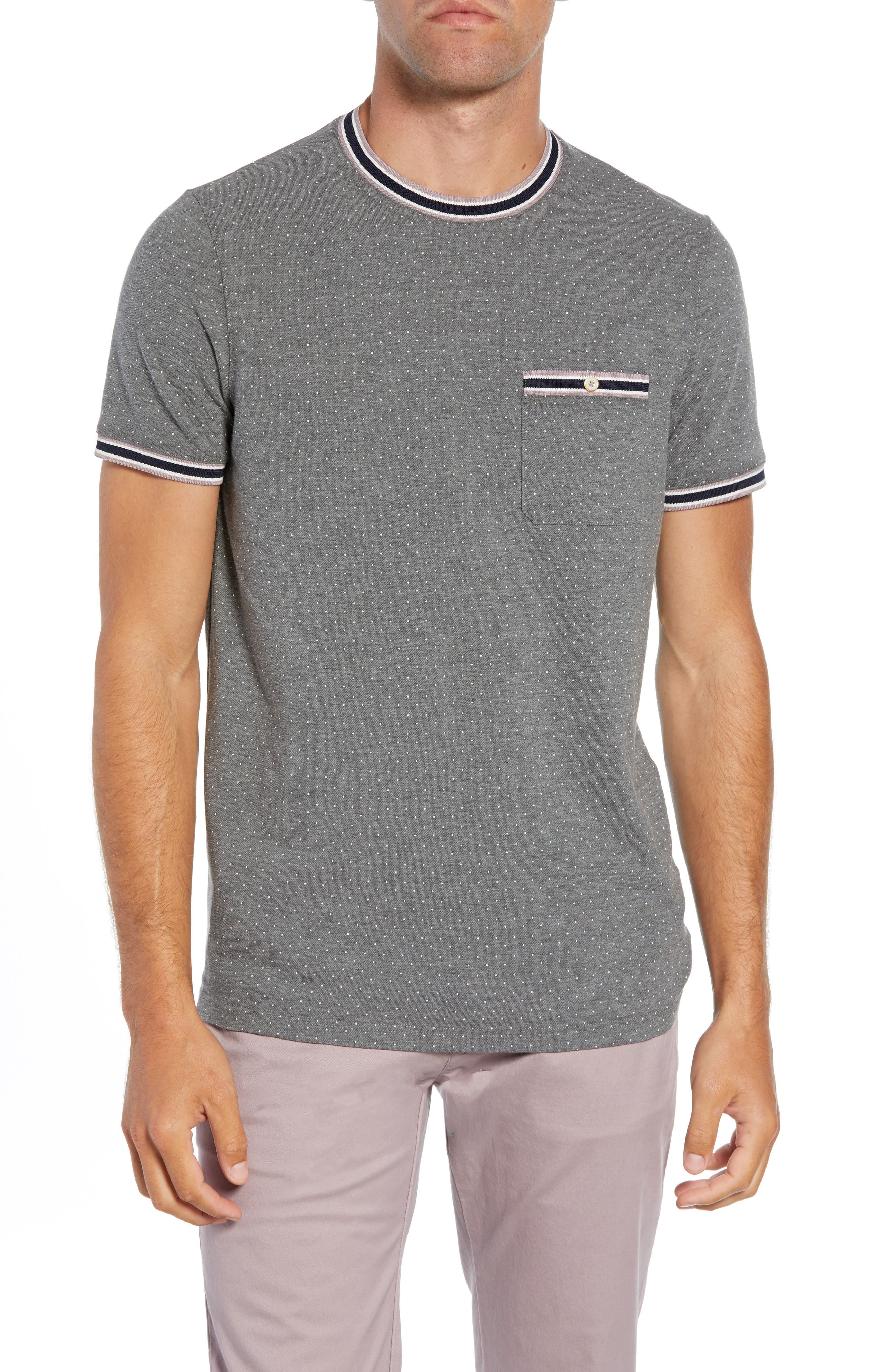 Glaad Trim Fit Mini Spot T-Shirt,                         Main,                         color, GREY MARL