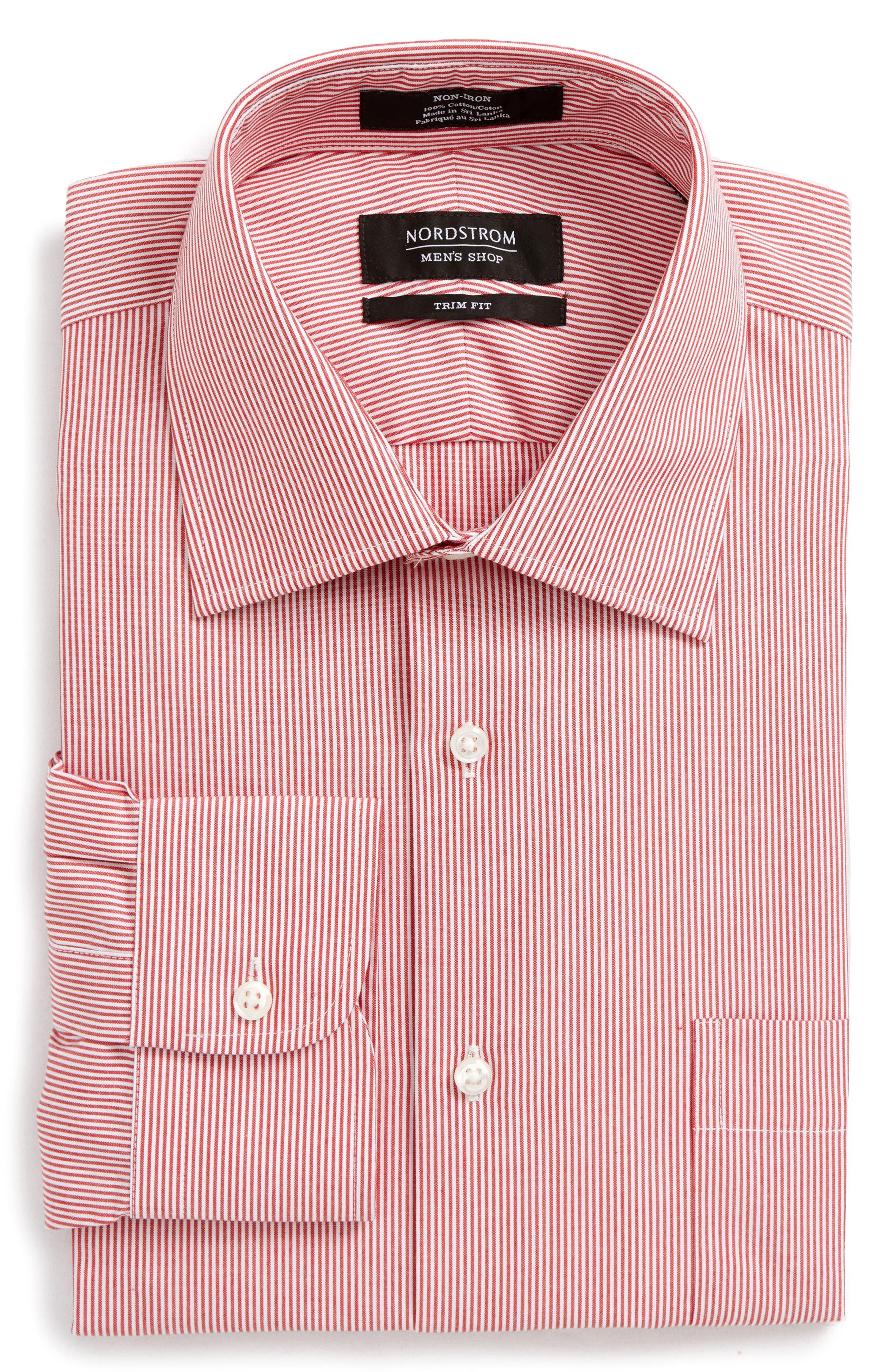 Trim Fit Non-Iron Stripe Dress Shirt,                             Alternate thumbnail 29, color,