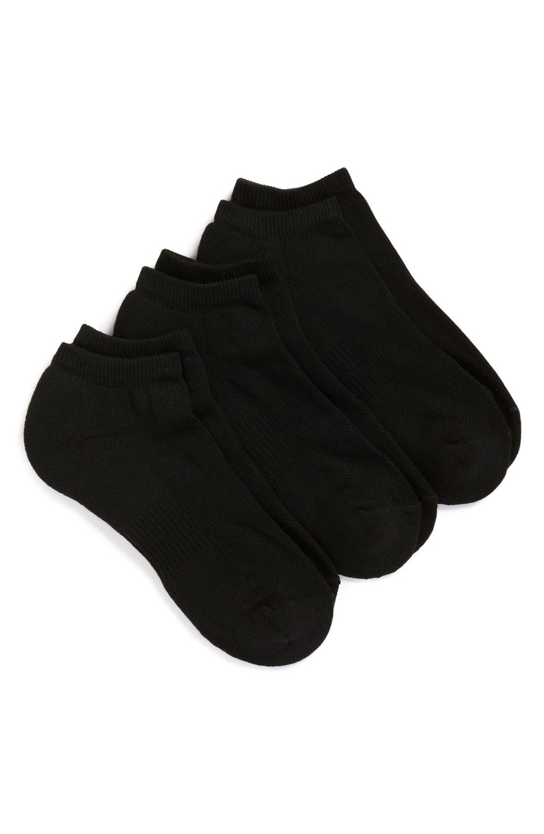 3-Pack No-Show Athletic Socks,                         Main,                         color, BLACK
