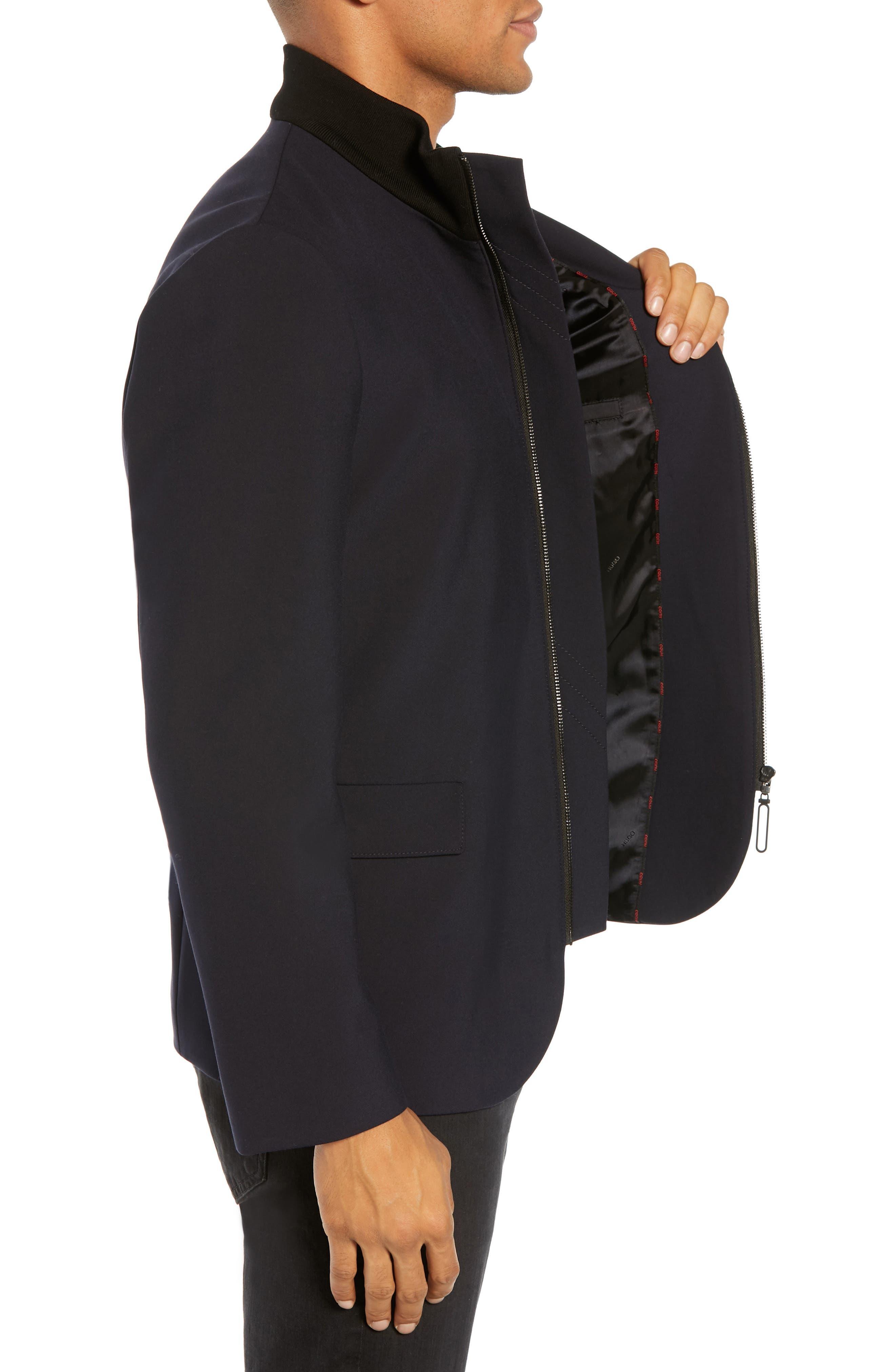 Janno Slim Zip Front Sport Coat,                             Alternate thumbnail 3, color,                             BLUE