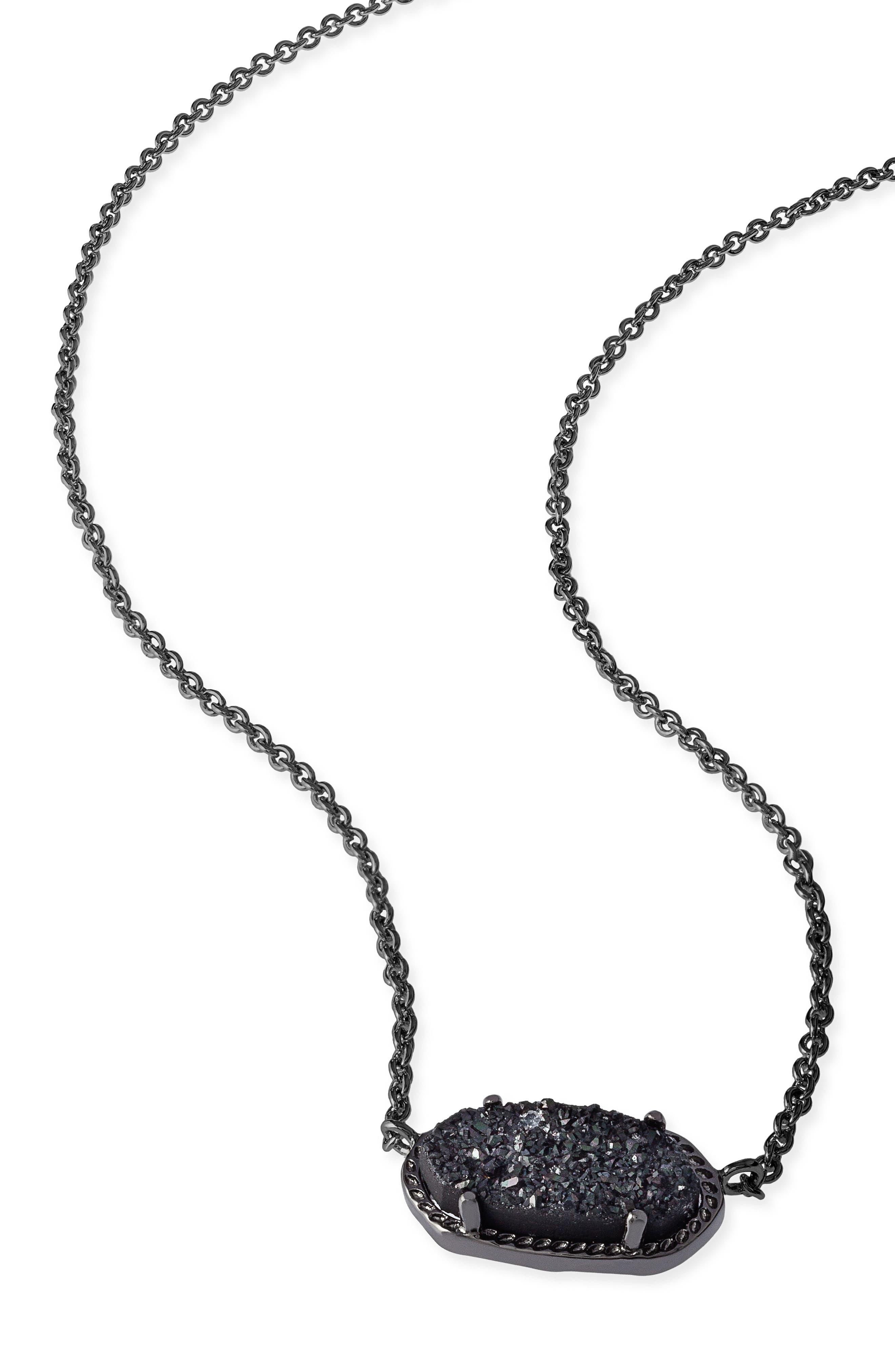Elisa Pendant Necklace,                             Alternate thumbnail 5, color,                             GUNMETAL/ BLACK DRUSY