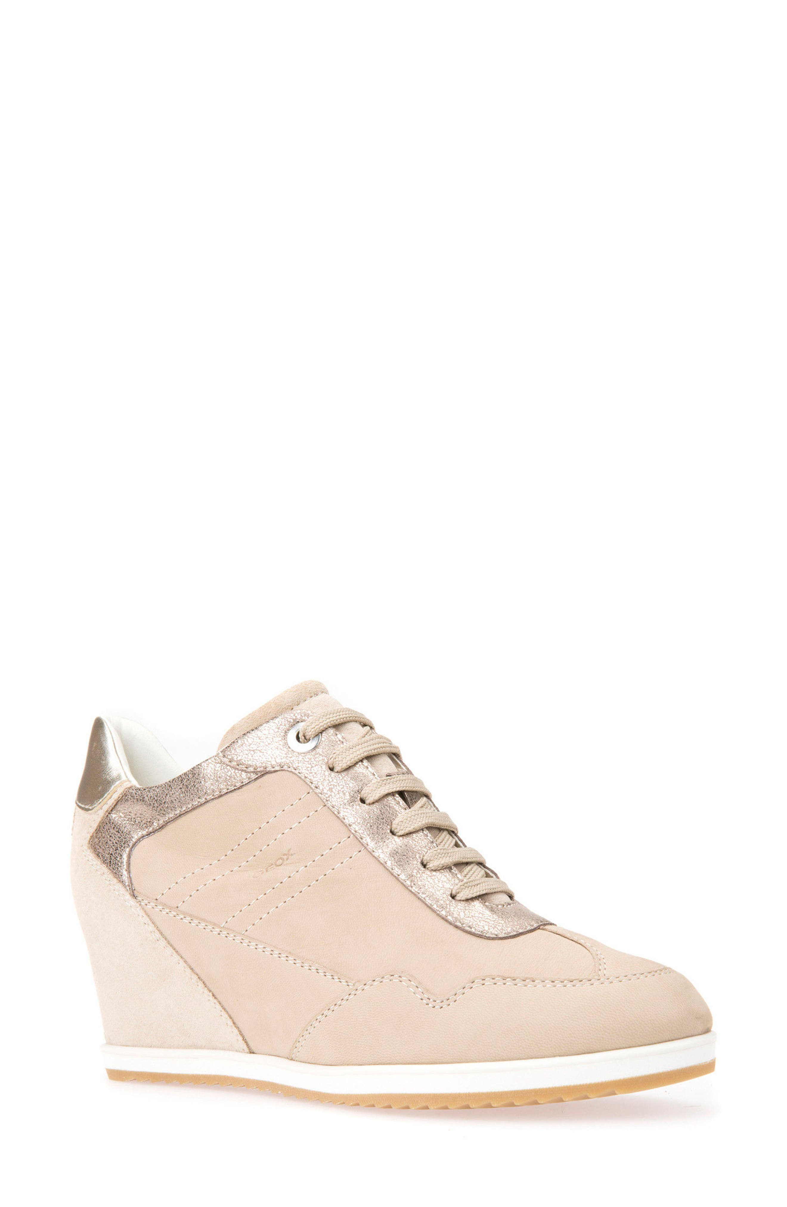Illusion 34 Wedge Sneaker,                         Main,                         color, SAND LEATHER