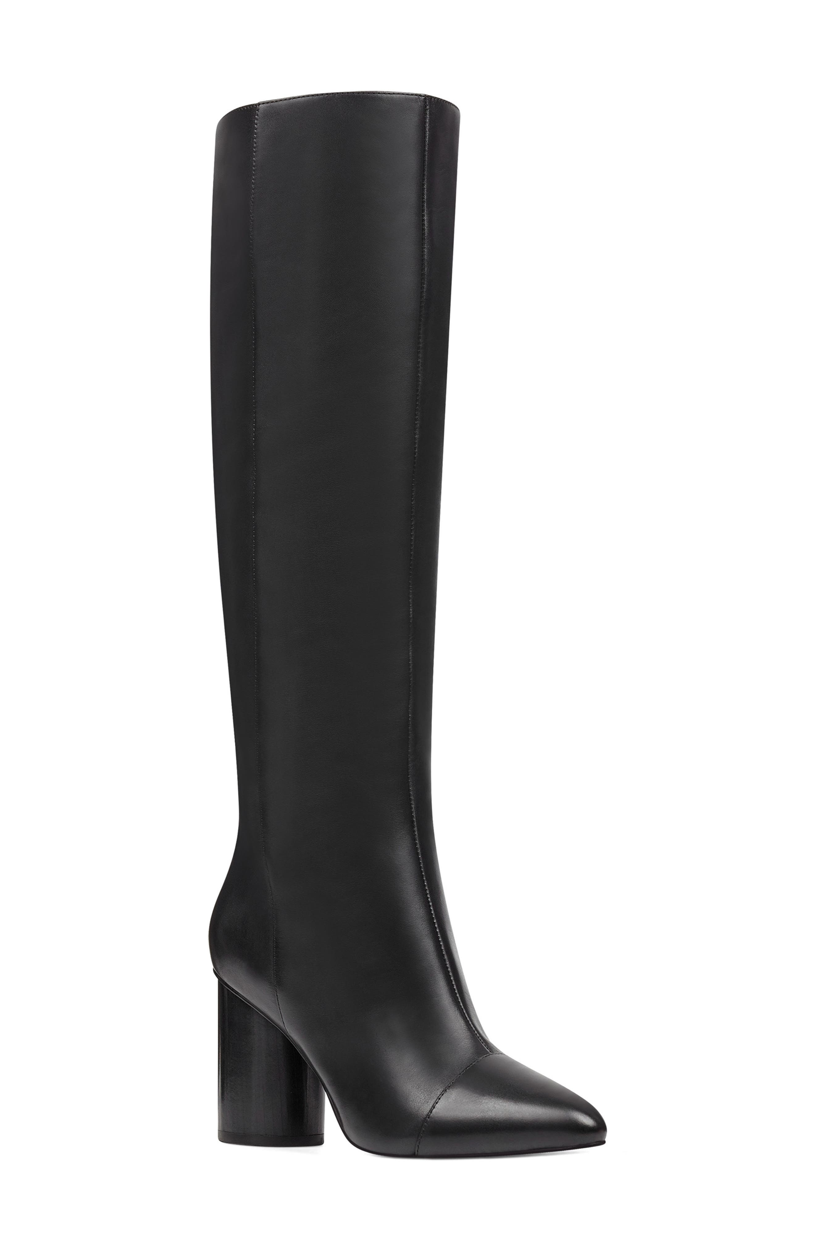 Nine West Cheyin Cap Toe Knee High Boot, Black