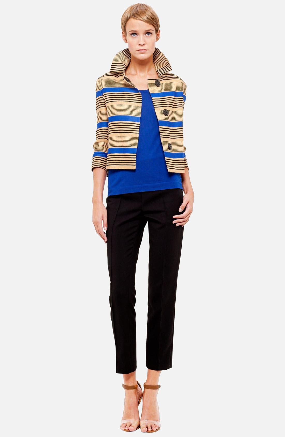 Stripe Linen Blend Jacket,                             Alternate thumbnail 4, color,                             701