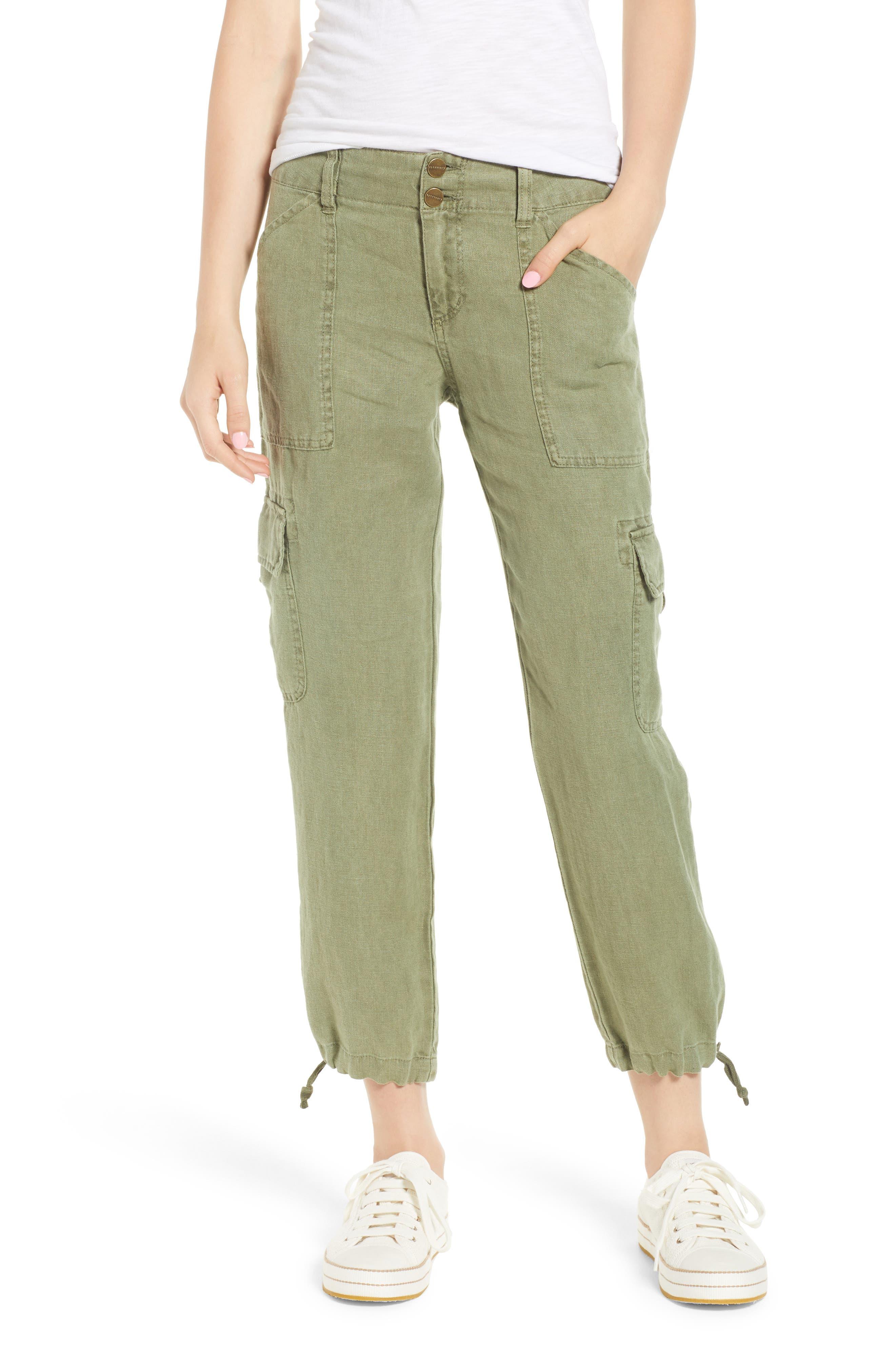 Terrain Linen Crop Cargo Pants,                             Main thumbnail 6, color,